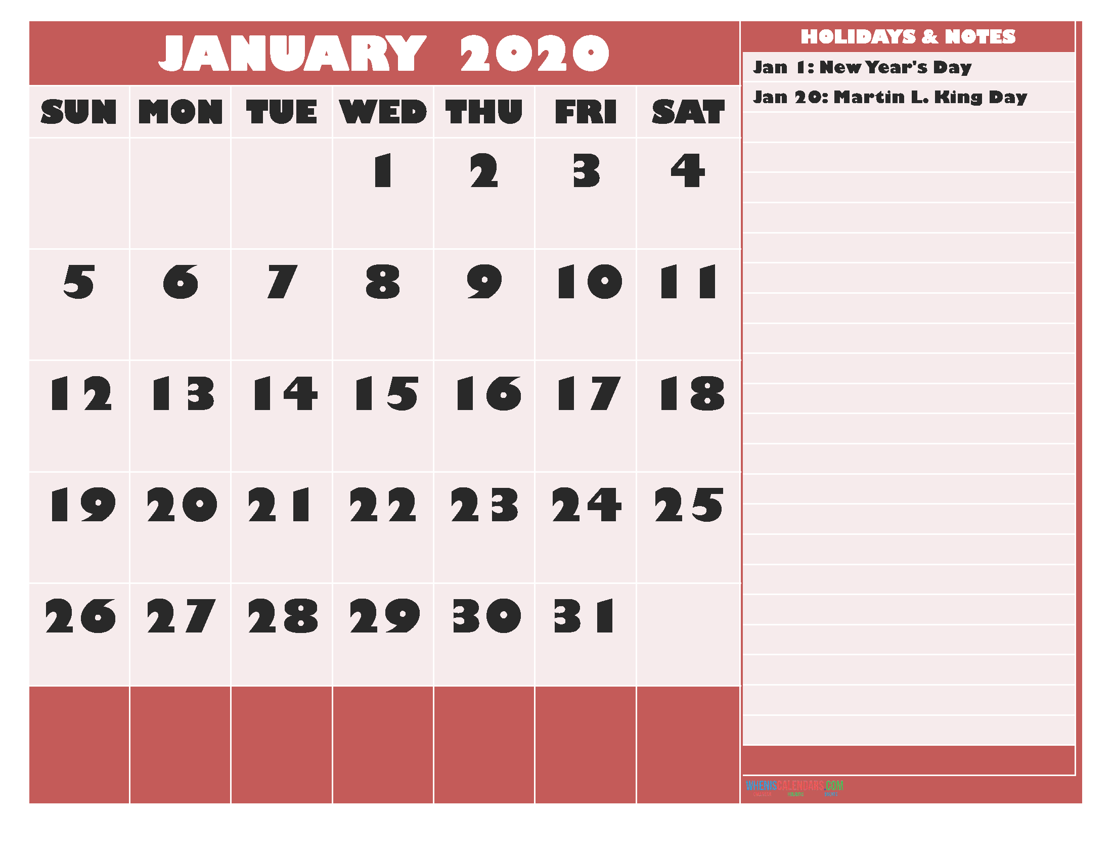 Free Printable Monthly Calendar 2020 January with Holidays