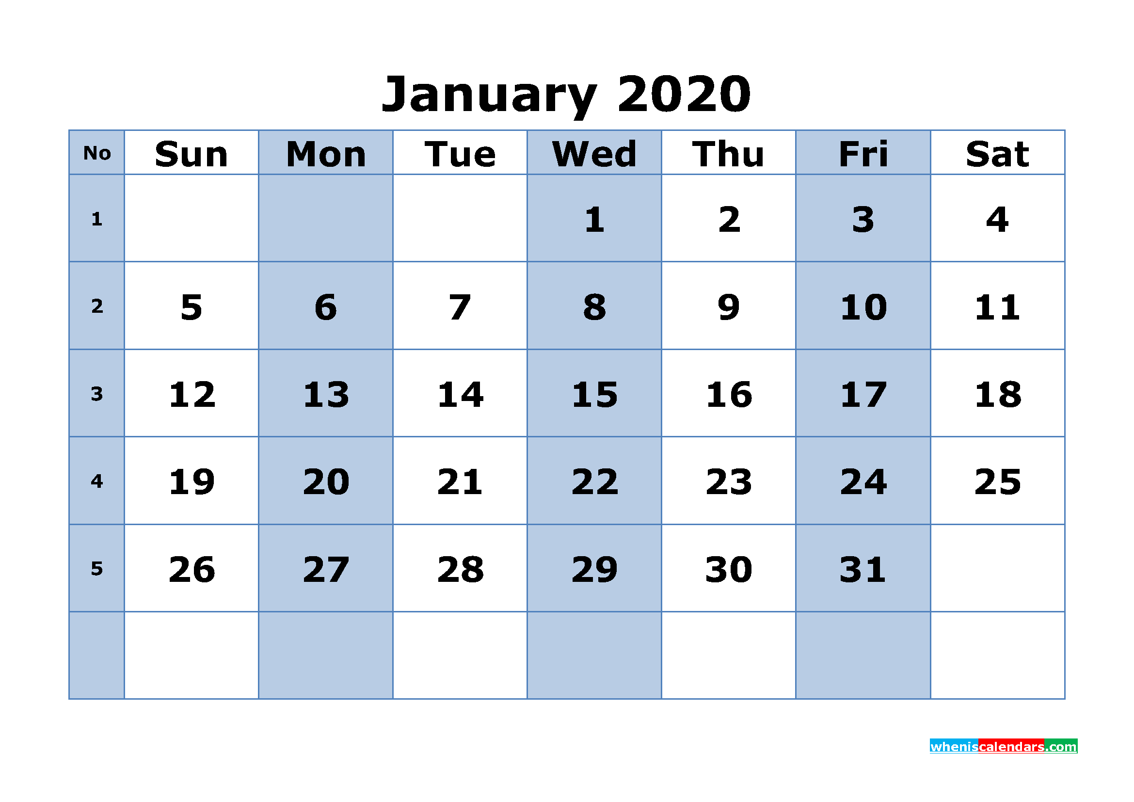 Free Printable January 2020 Calendar Word, PDF