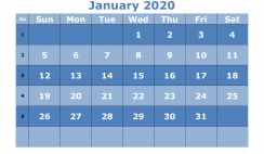 Printable January 2020 Calendar Template Word