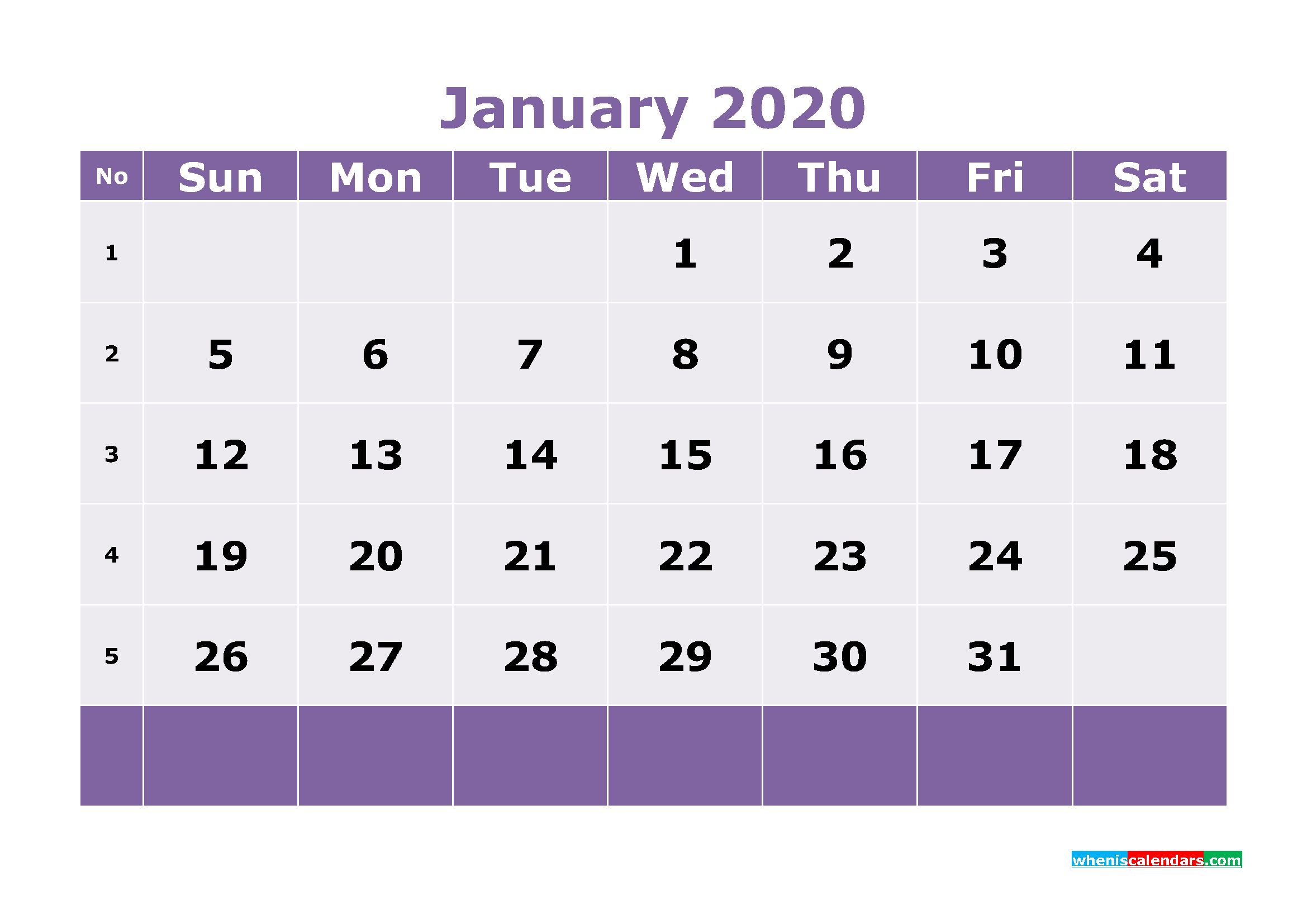 Free Printable January 2020 Calendar Templates