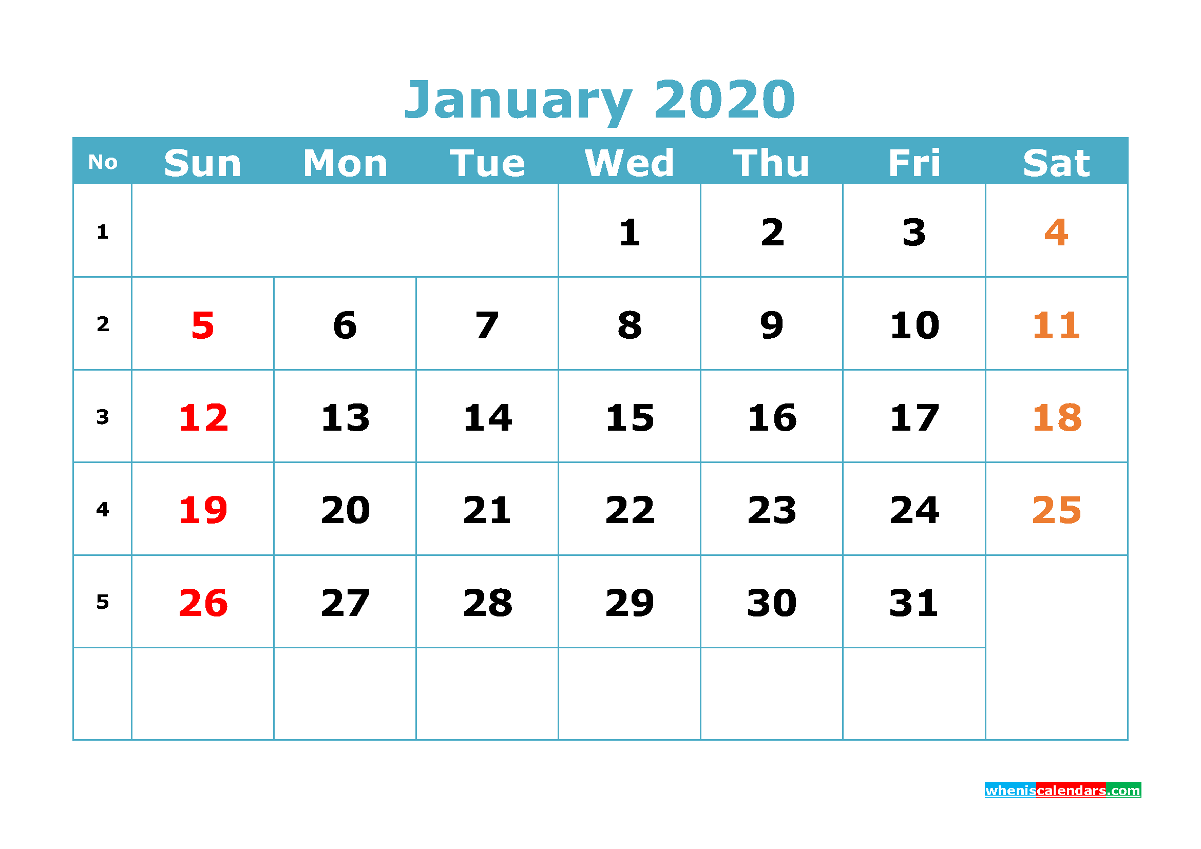 Free Printable January 2020 Calendar Template Word