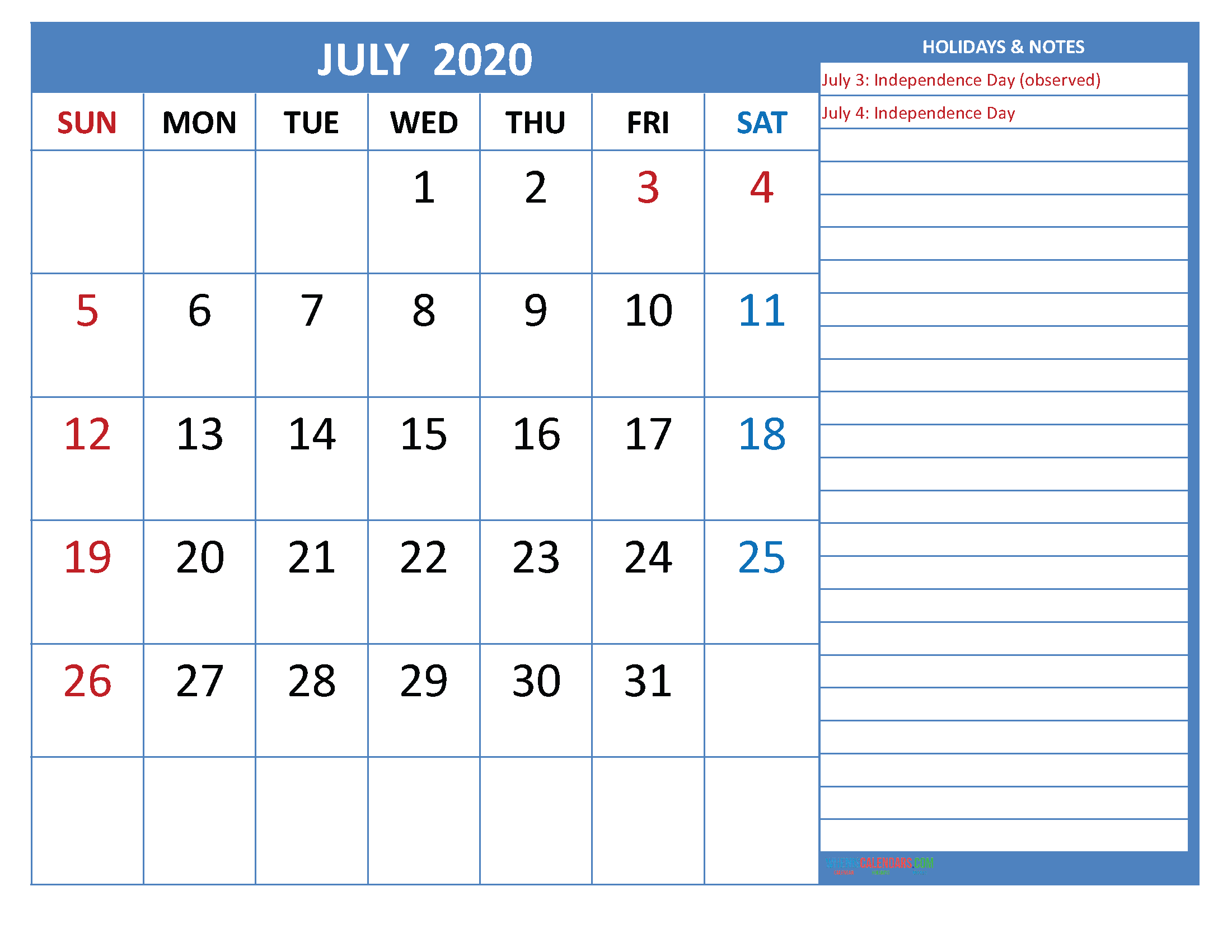 Free Printable Monthly 2020 Calendar with Holidays July