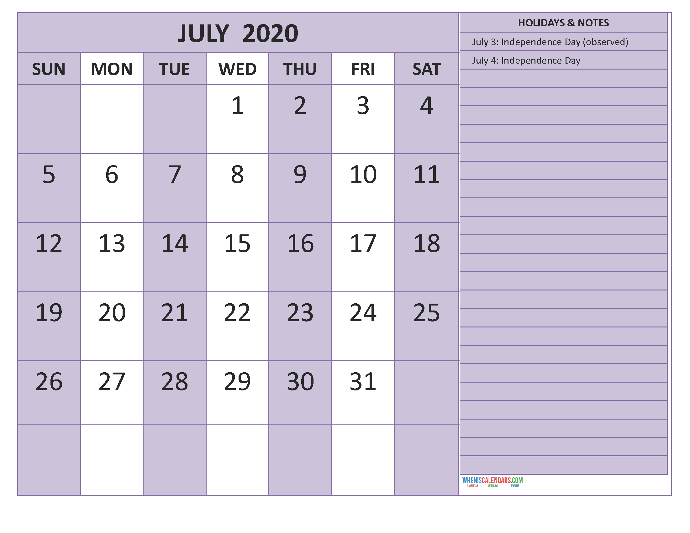 July 2020 Calendar with Holidays Free Printable by Word