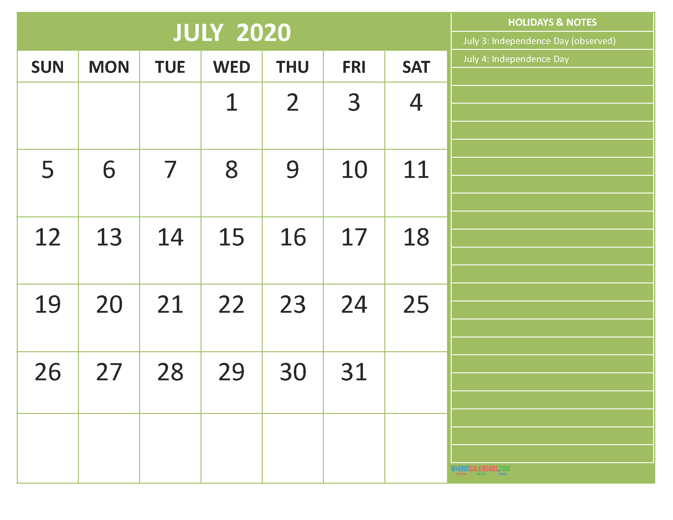 Free Monthly Printable Calendar 2020 July with Holidays