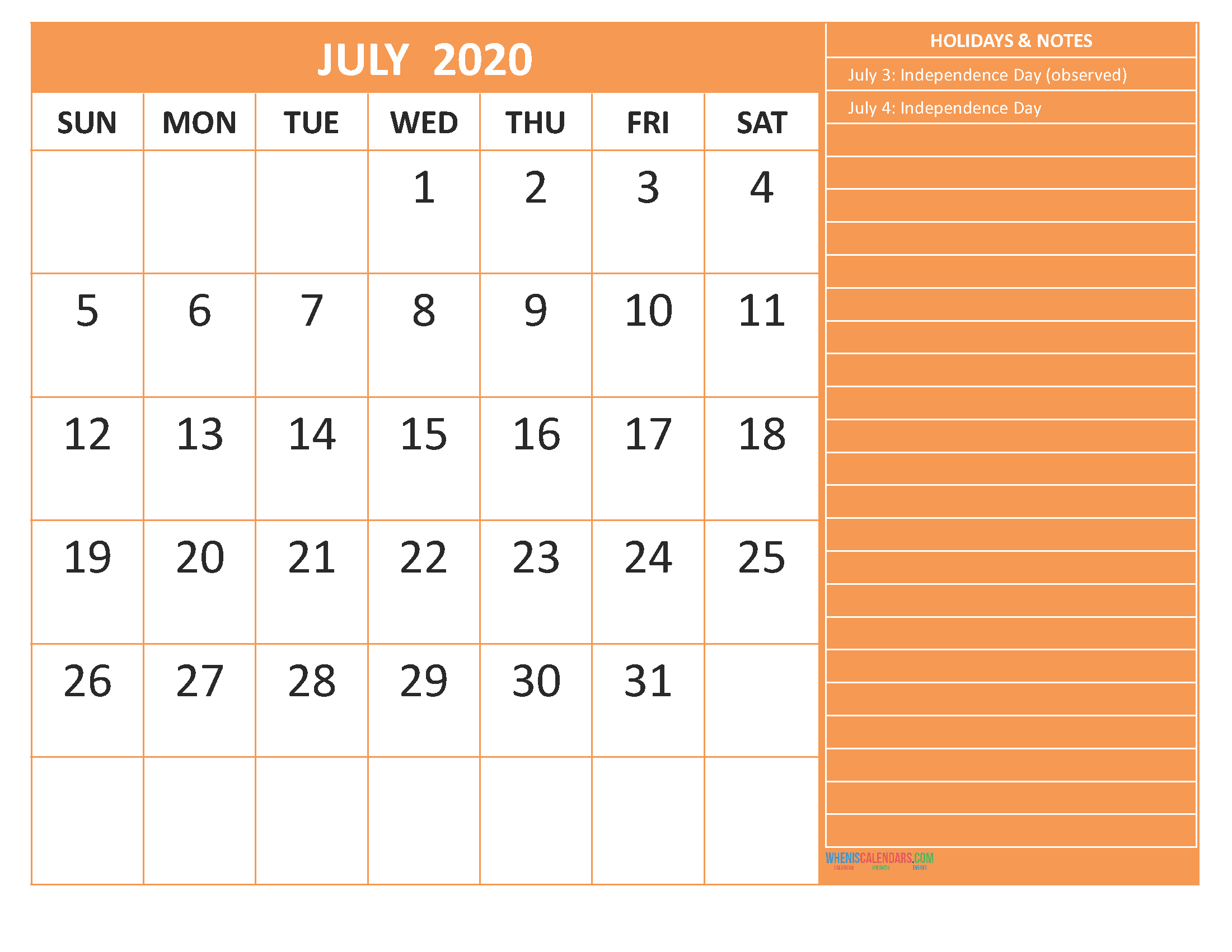 July 2020 Calendar with Holidays Word, PDF