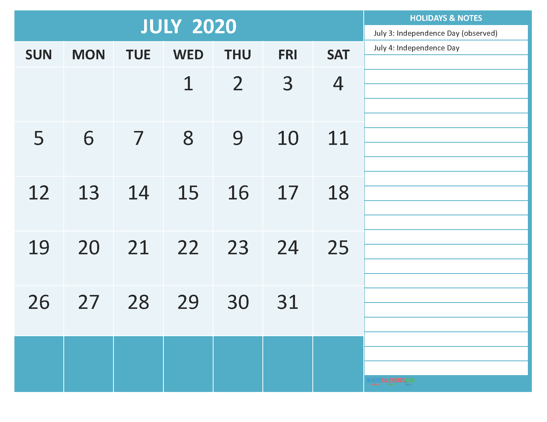 Printable July 2020 Calendar with Holidays Word