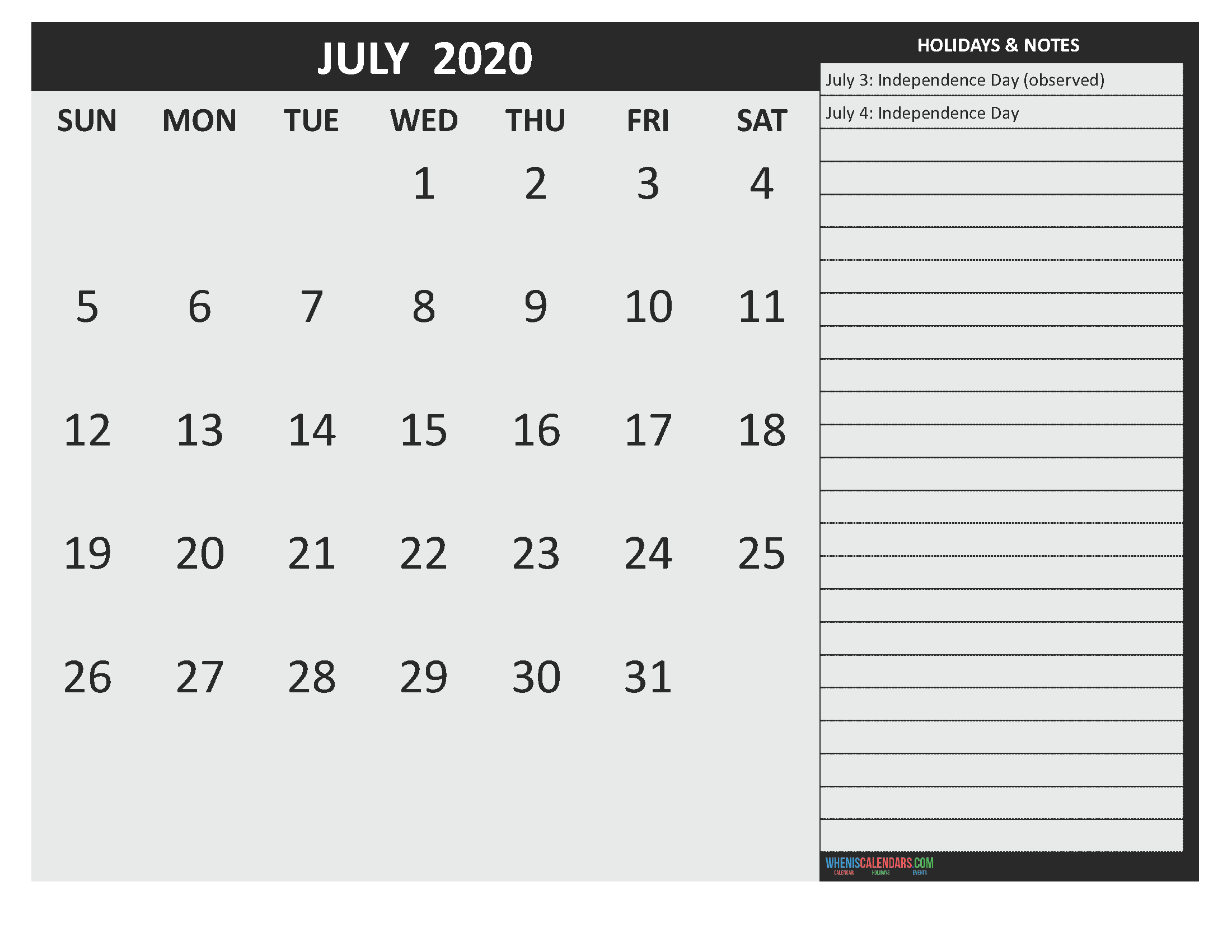 July 2020 Calendar with Holidays Free Printable