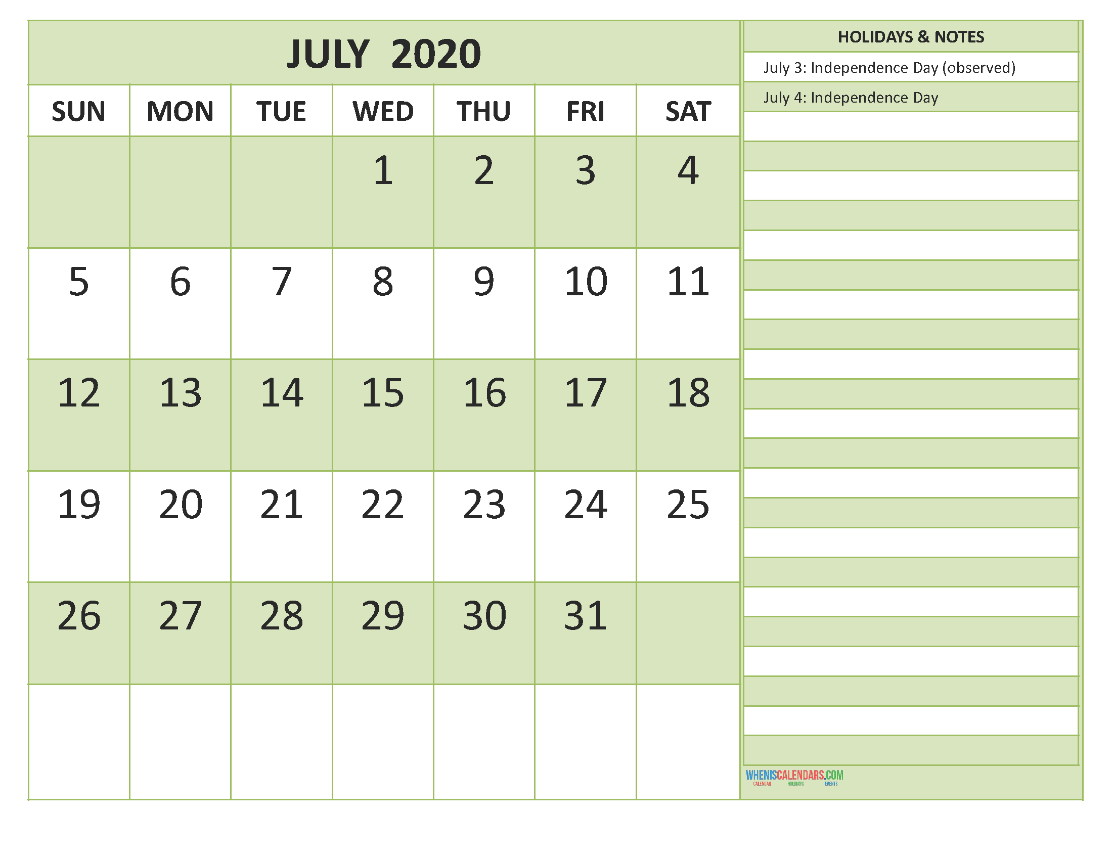 Free Printable 2020 Monthly Calendar with Holidays July