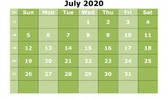 Free Printable July 2020 Calendar Template Word