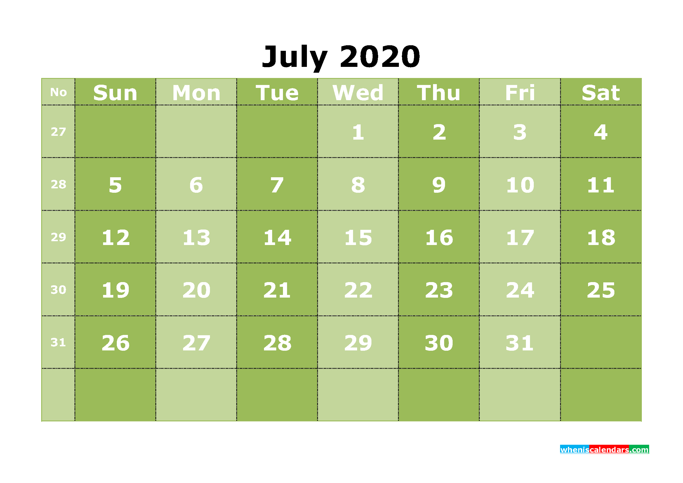 Free Printable July 2020 Calendar Template Word