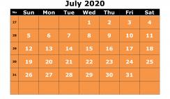 Free Printable July 2020 Calendar Templates