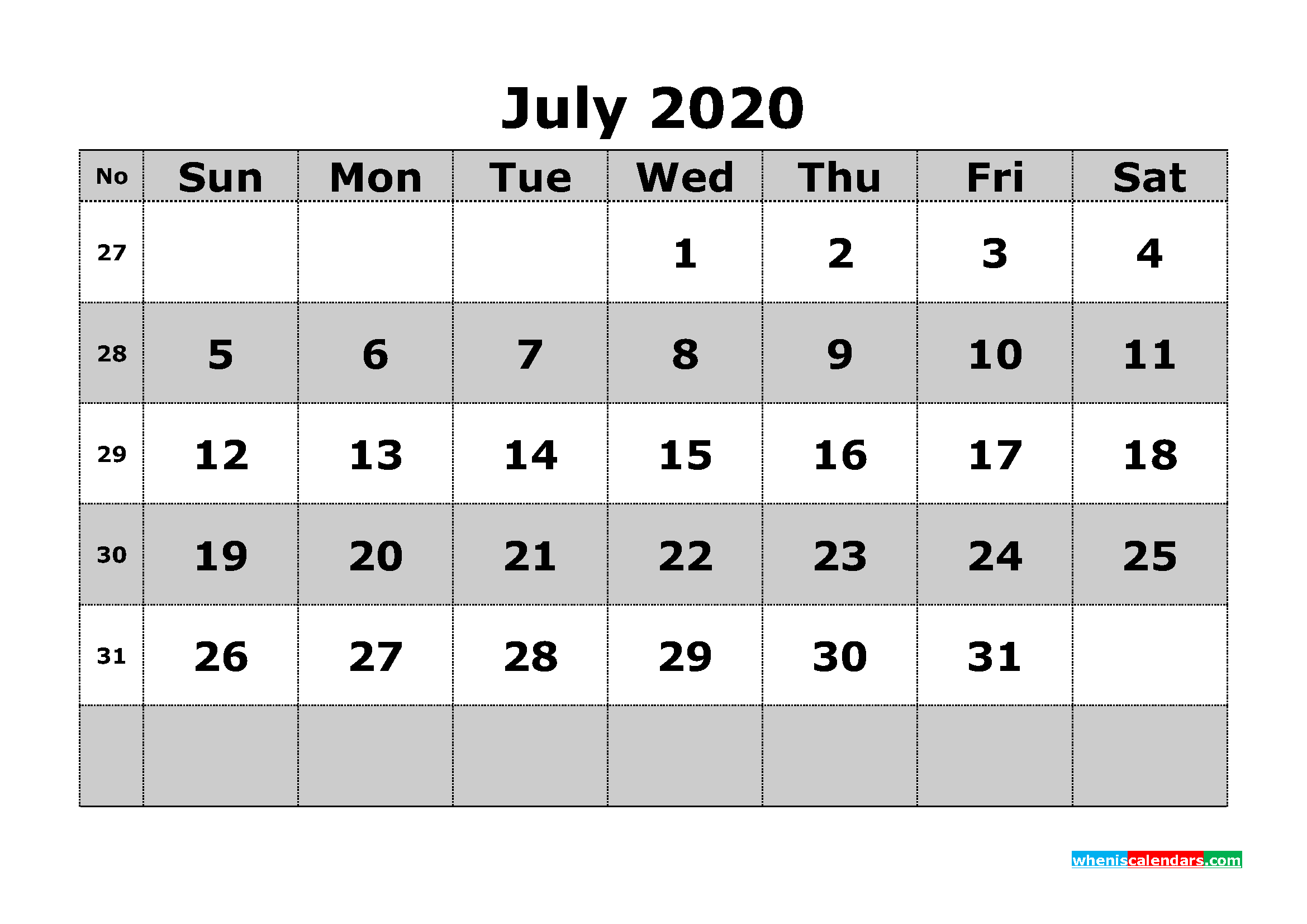 Printable July 2020 Calendar Template Word, PDF