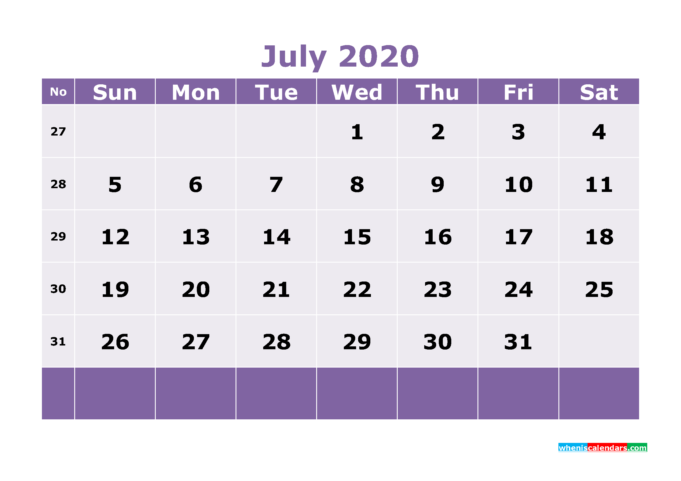 Free Printable July 2020 Calendar Templates