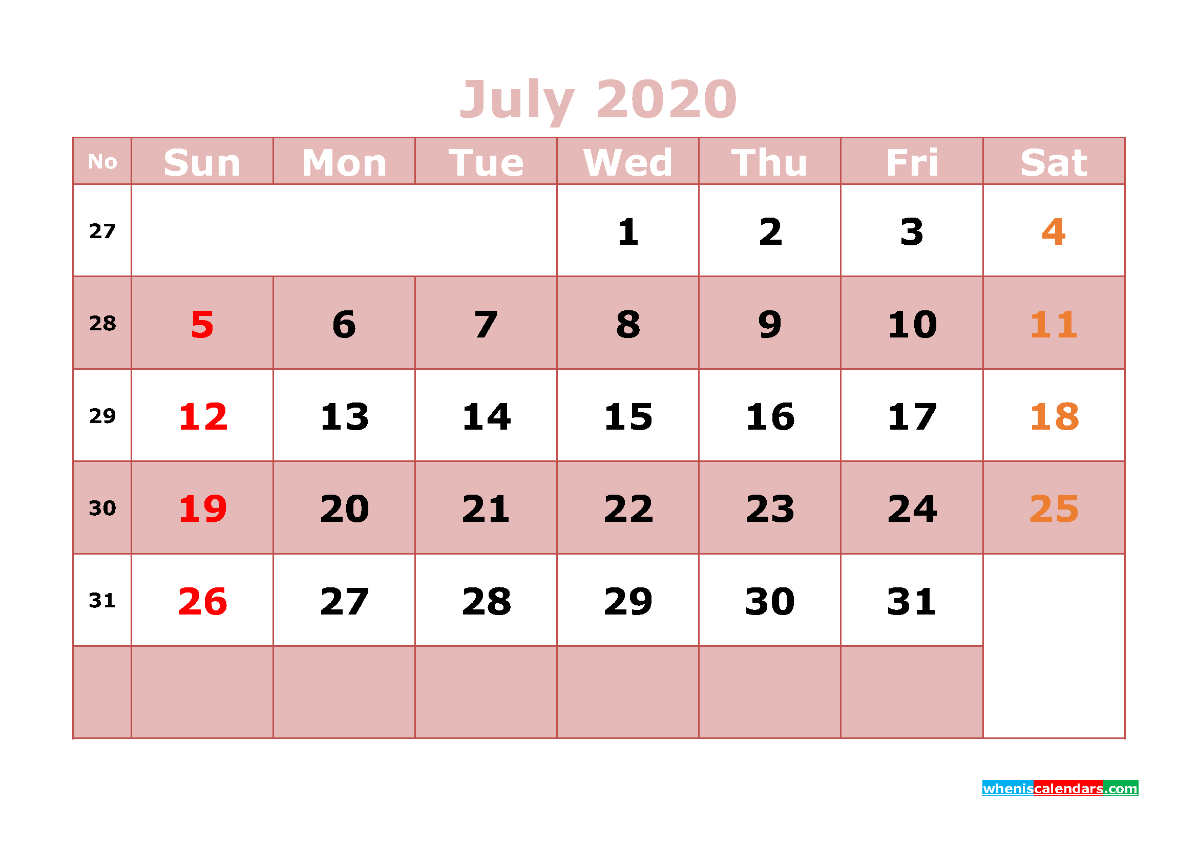 Free Printable July 2020 Calendar Word, PDF