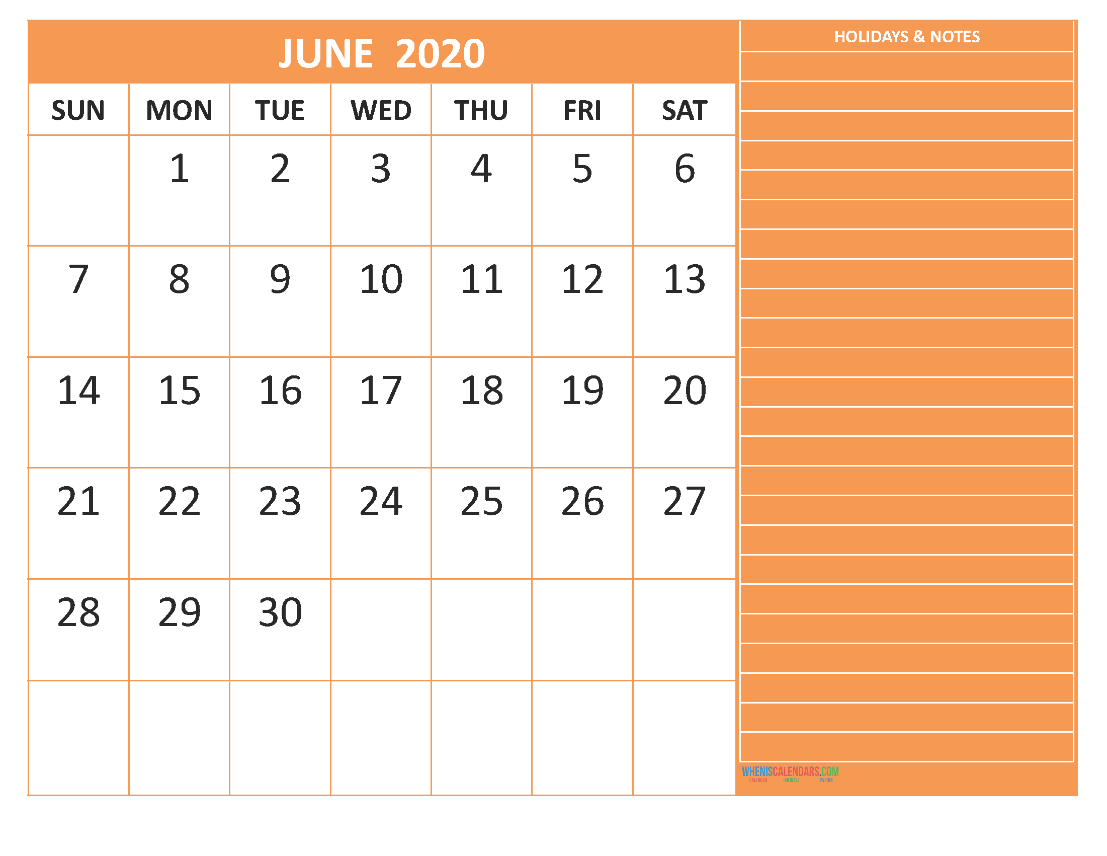 June 2020 Calendar with Holidays Word, PDF