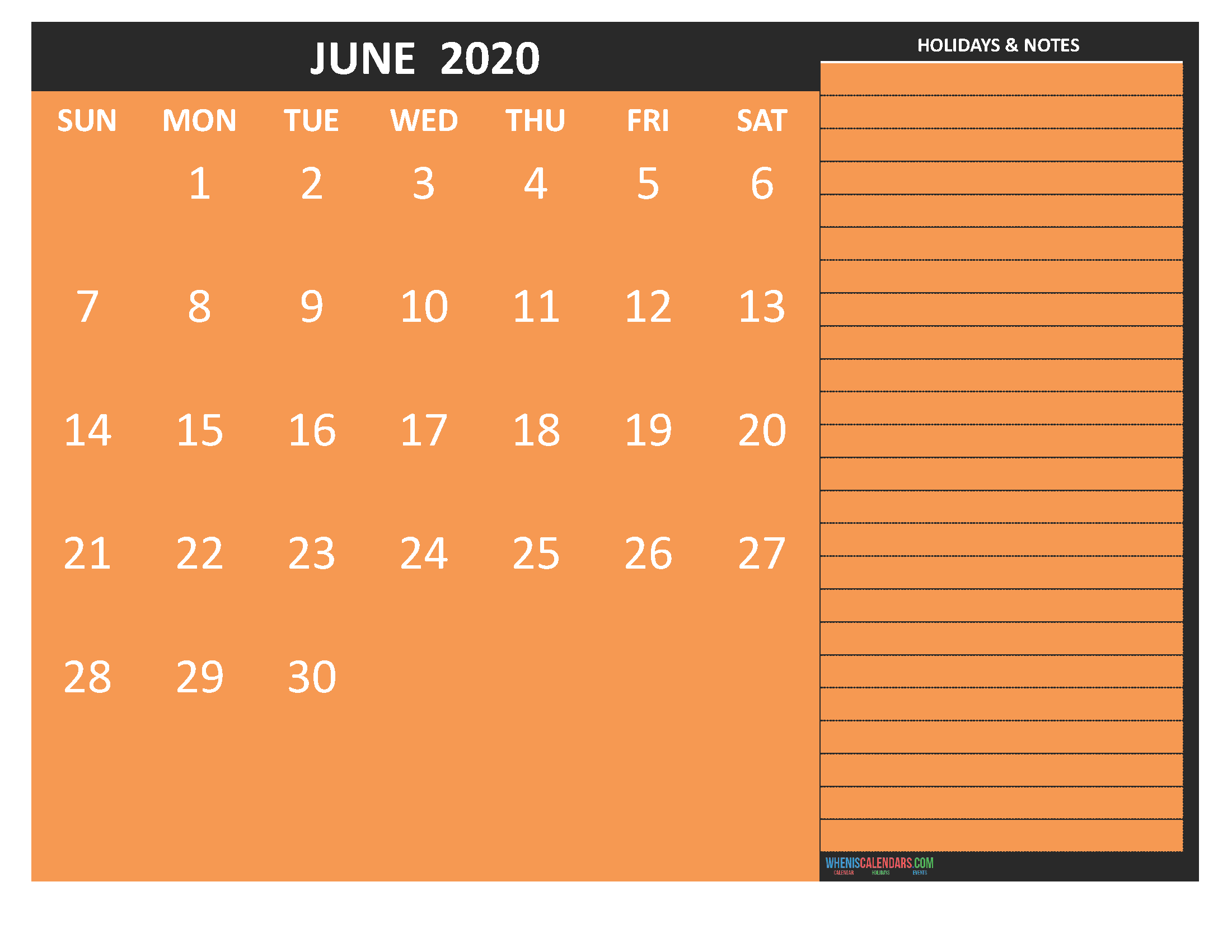 Printable June 2020 Calendar with Holidays Word