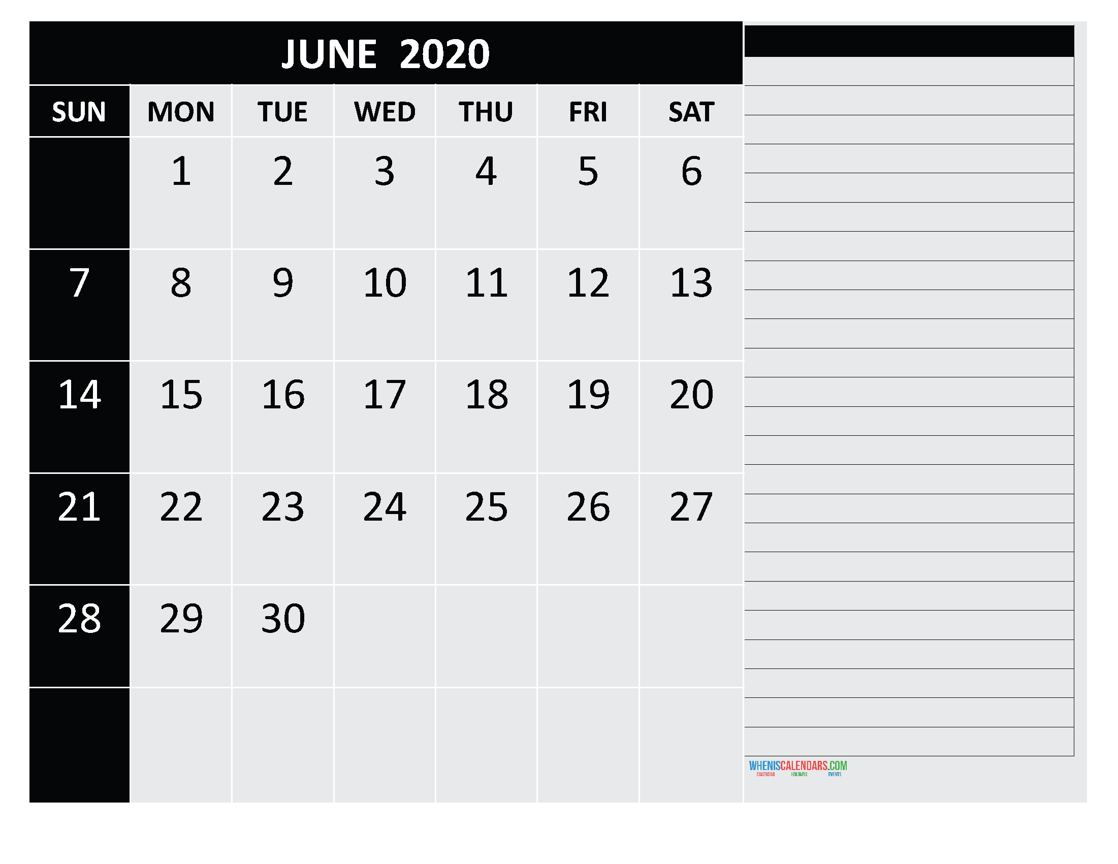 Free Monthly Printable Calendar 2020 June with Holidays