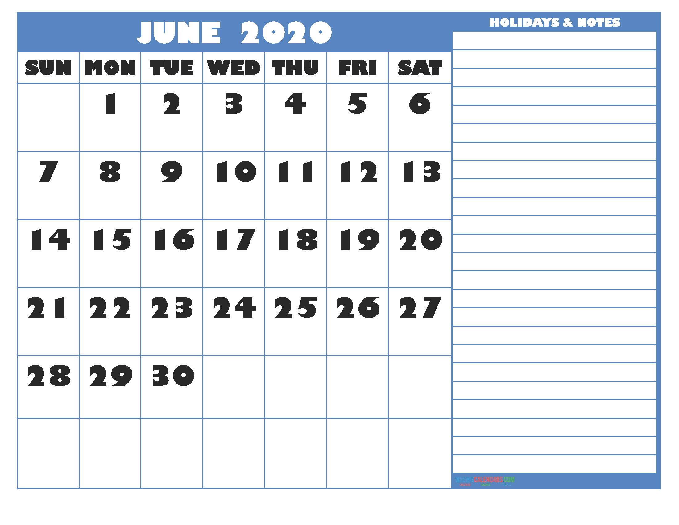 June 2020 Calendar with Holidays Free Printable by Word