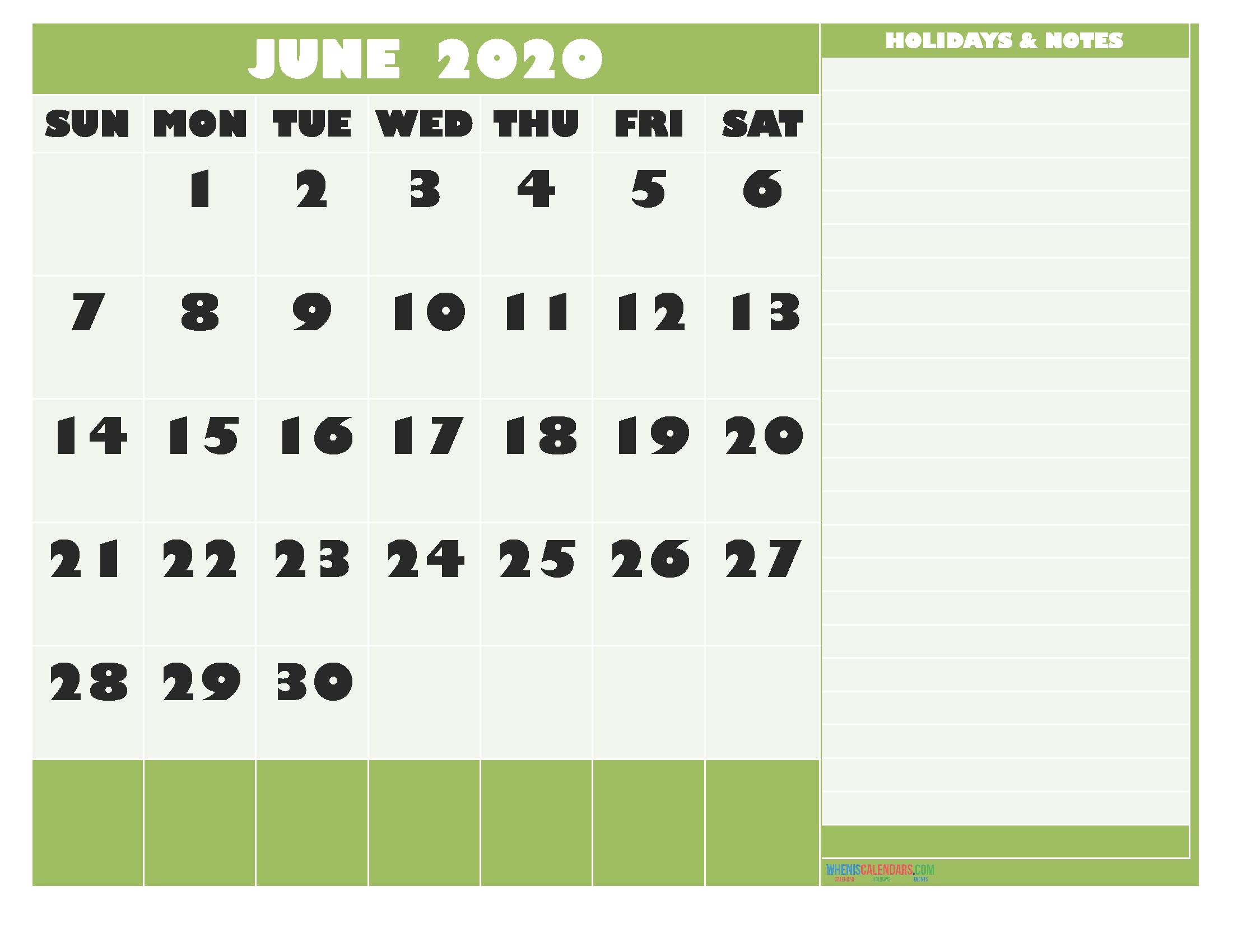 June 2020 Calendar with Holidays Free Printable