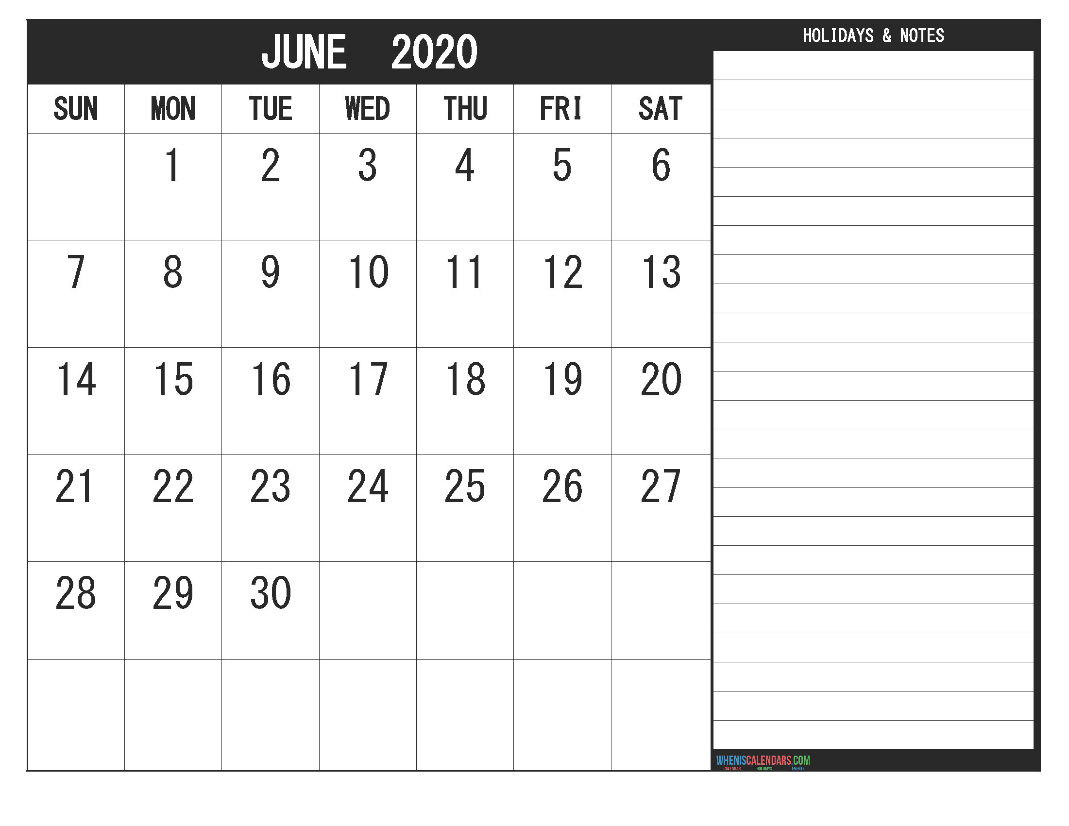 Free Printable Monthly Calendar 2020 June with Holidays
