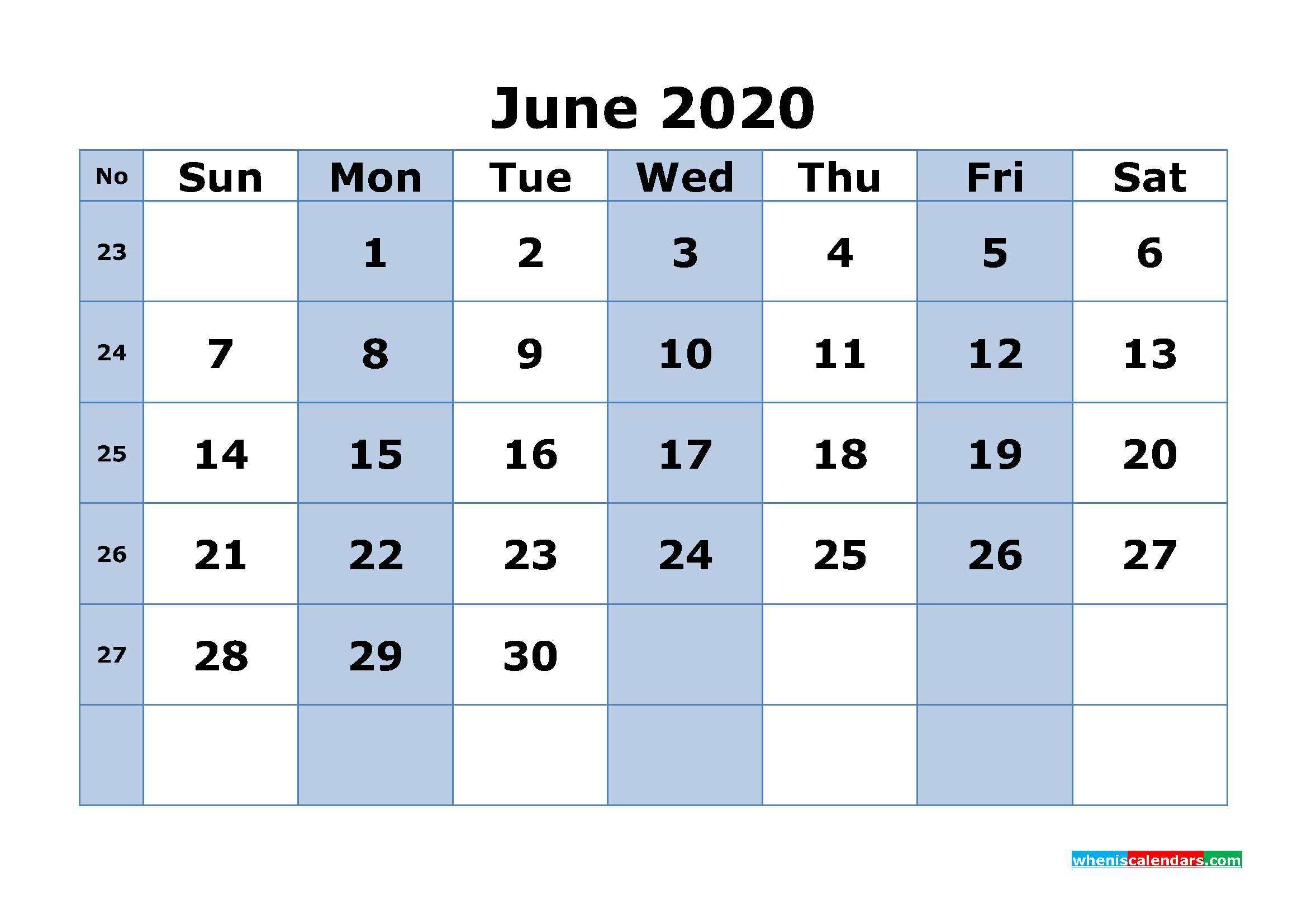 Free Printable June 2020 Calendar Word, PDF