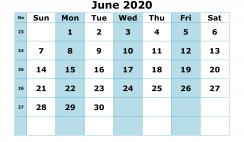 Free Printable June 2020 Calendar with Week Numbers