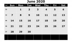 Printable June 2020 Calendar Template Word