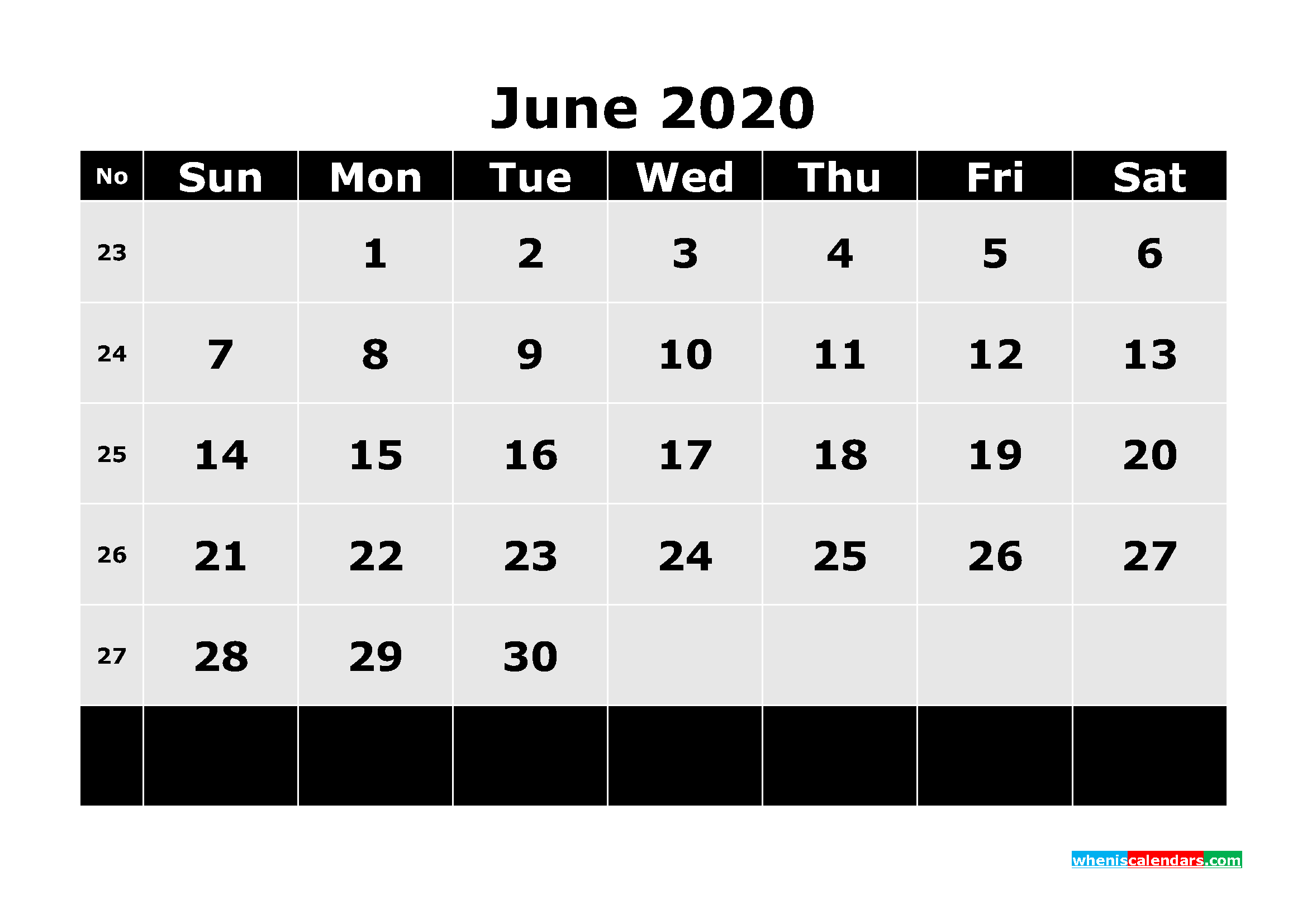 Printable June 40 Calendar Template Word, PDF – Free Printable ...