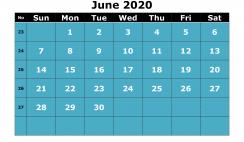 Printable June 2020 Calendar with Week Numbers