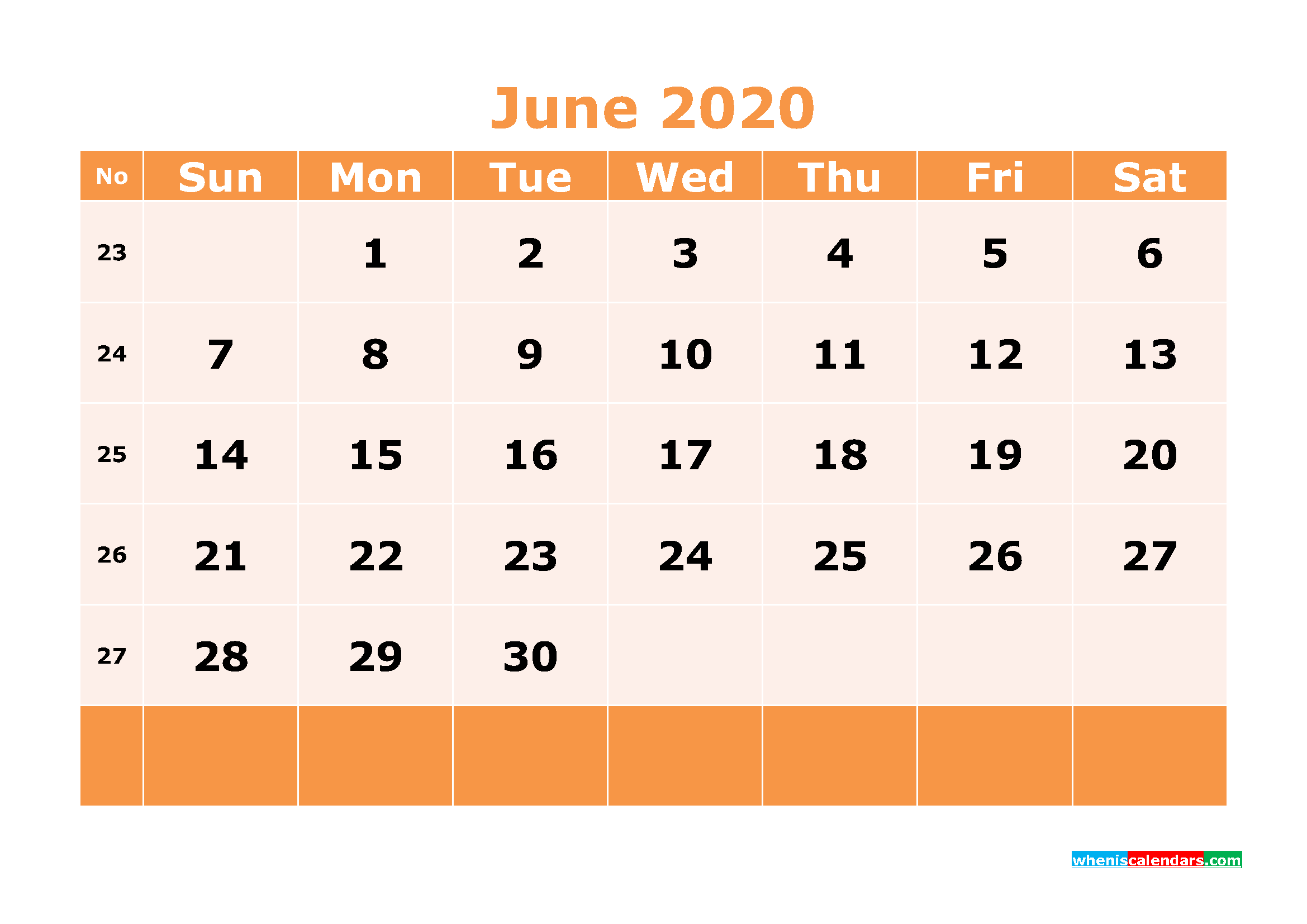 Printable June 2020 Calendar Template Word, PDF