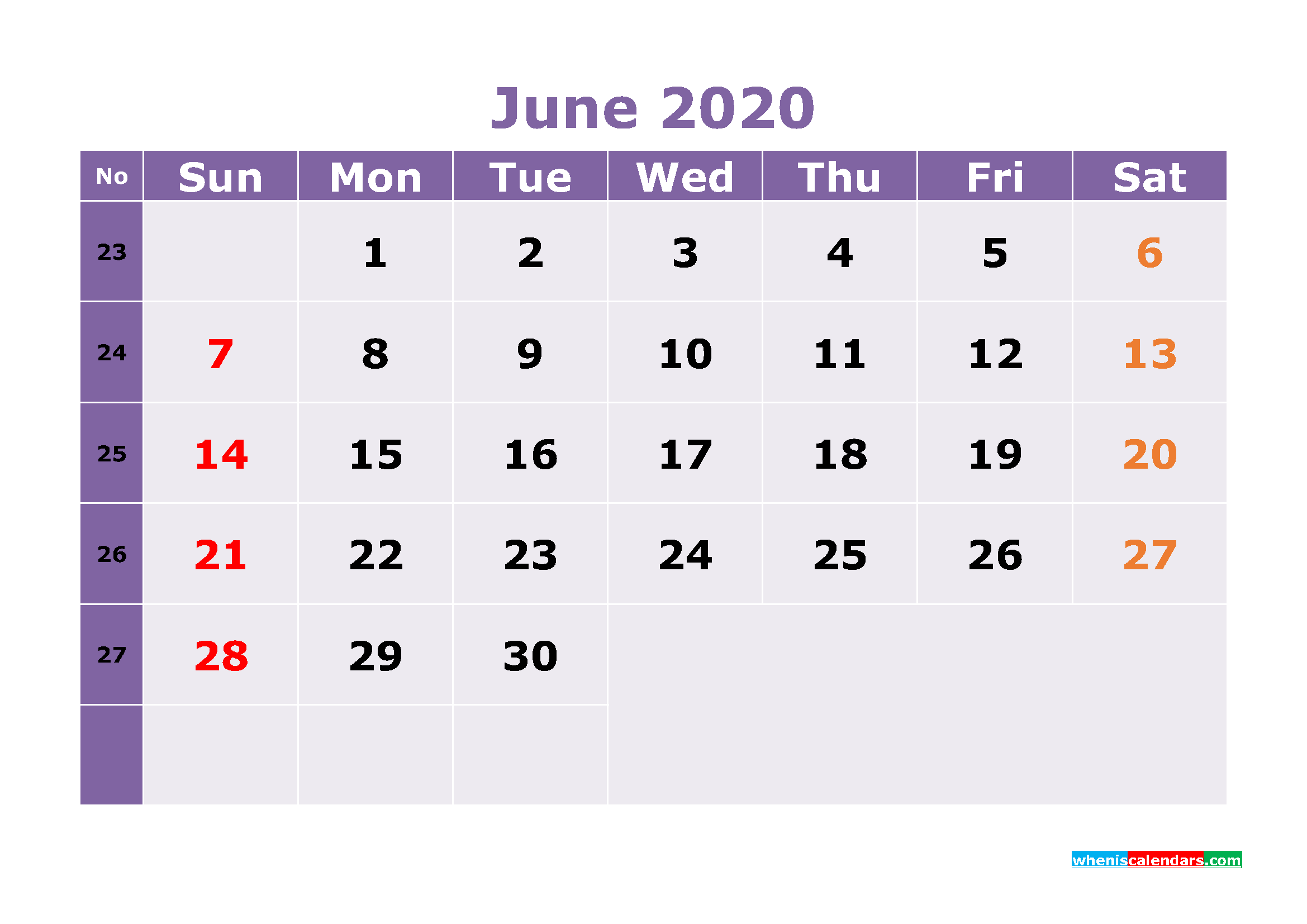 Free Printable June 2020 Calendar Templates