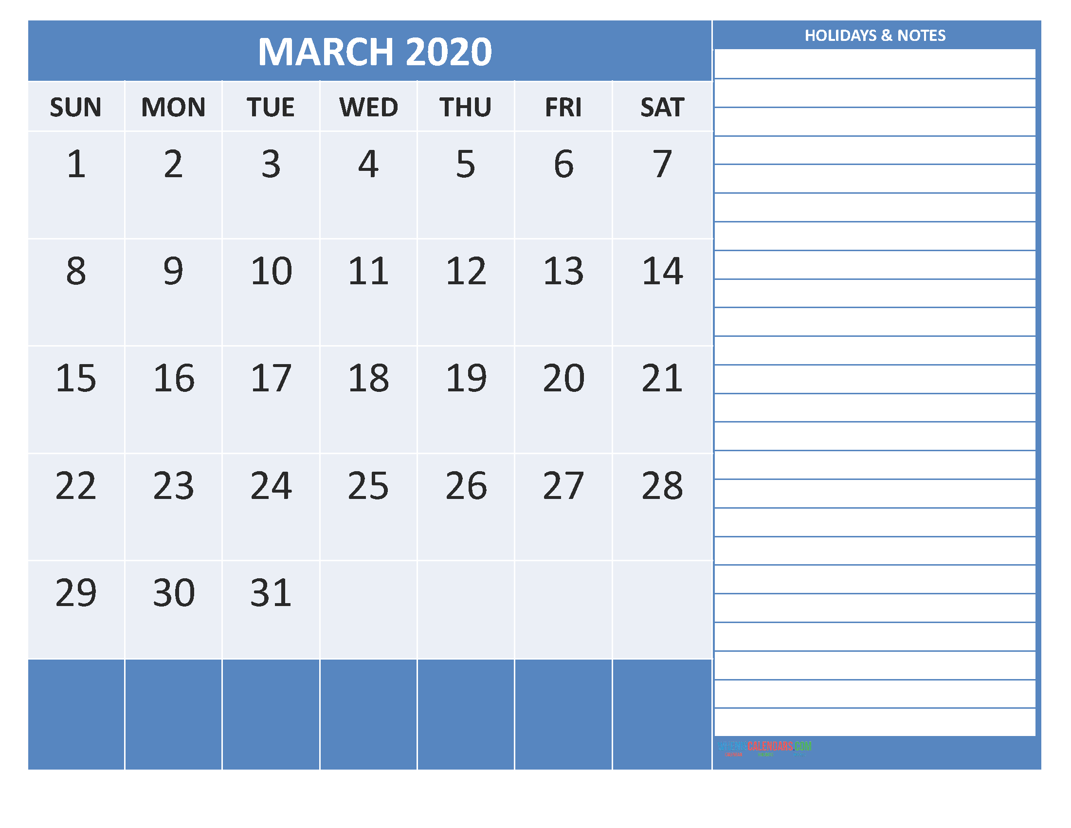 Free Printable 2020 Monthly Calendar with Holidays March