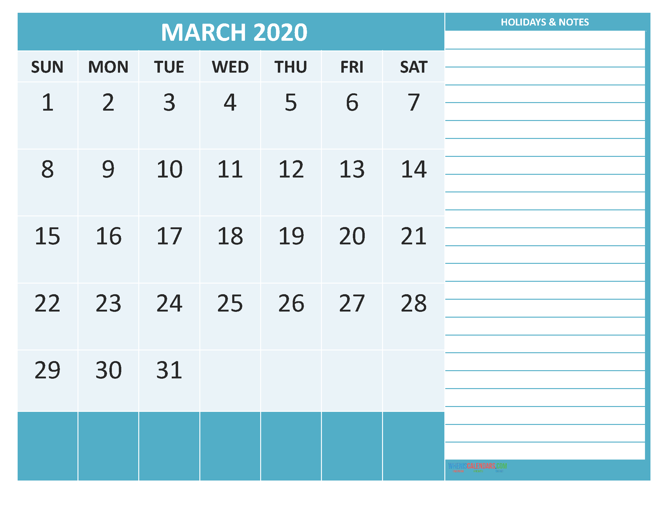 Printable March 2020 Calendar with Holidays Word