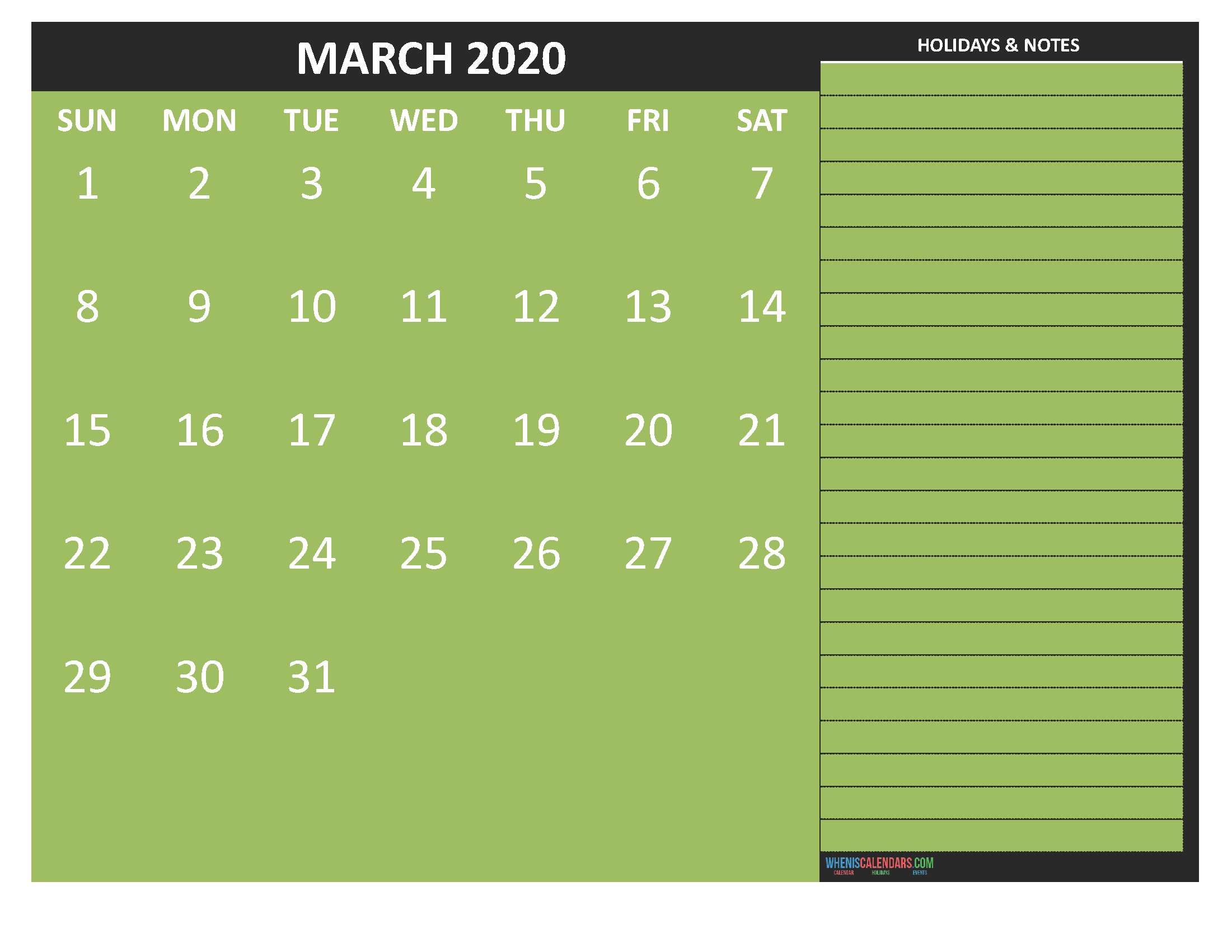 March 2020 Calendar with Holidays Free Printable by Word