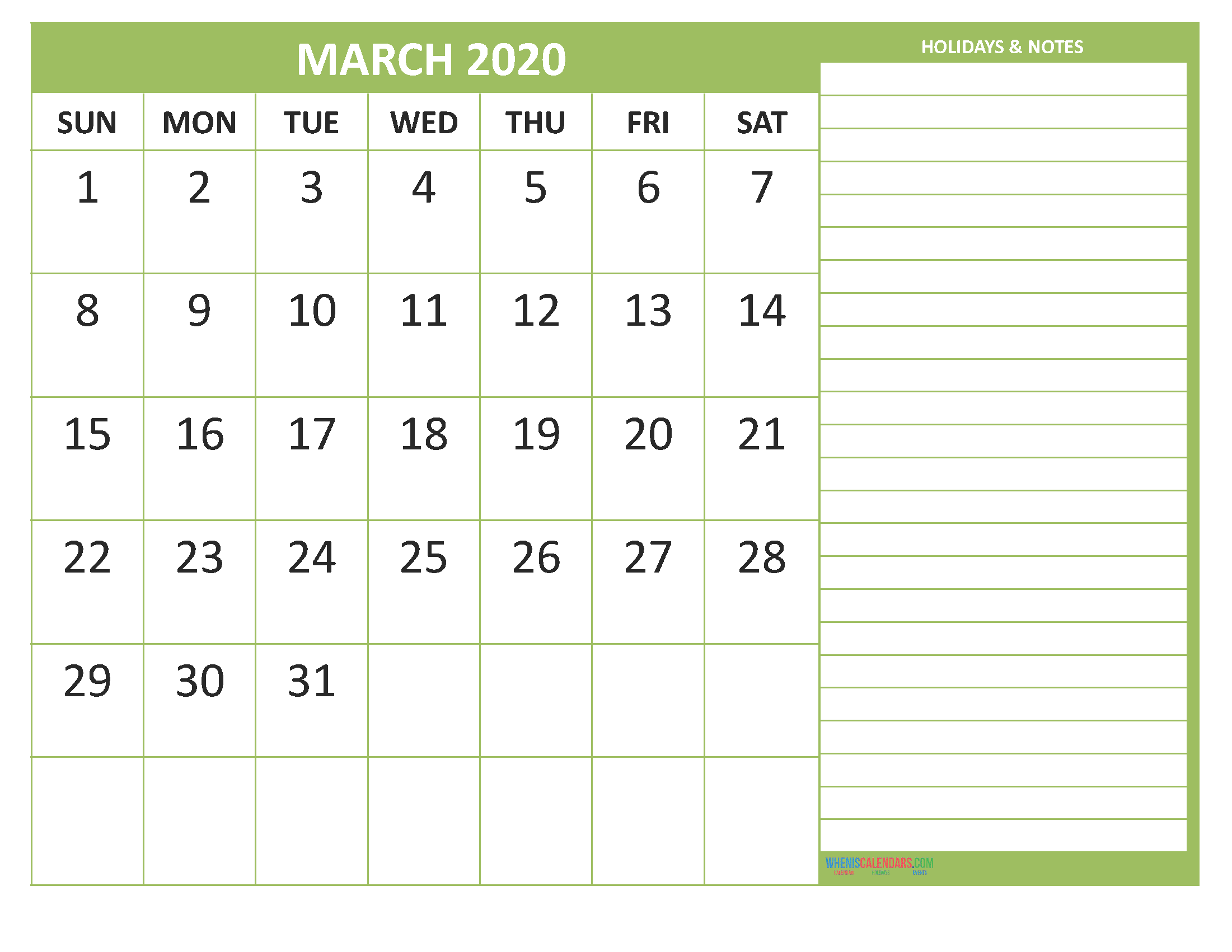 March 2020 Calendar with Holidays Free Printable