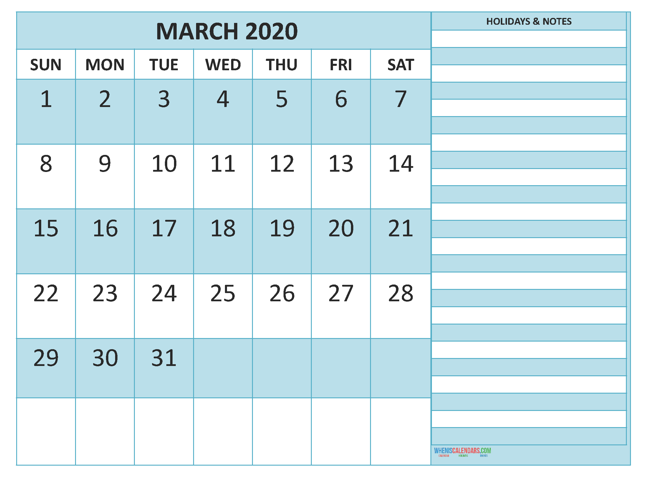 March 2020 Calendar with Holidays Word, PDF
