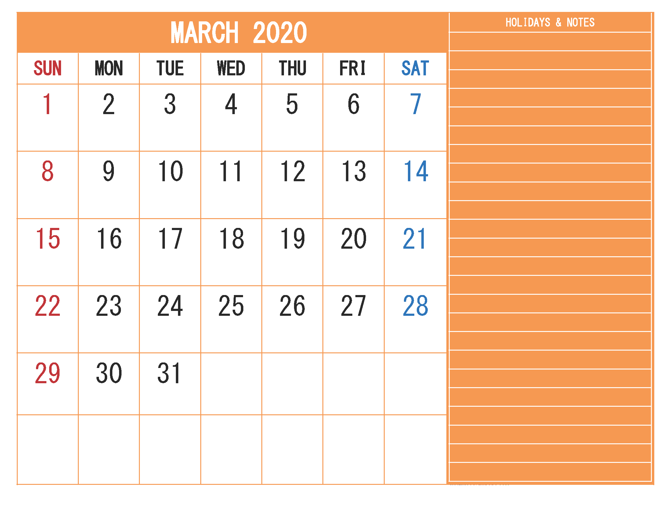 Free Monthly Printable Calendar 2020 March with Holidays