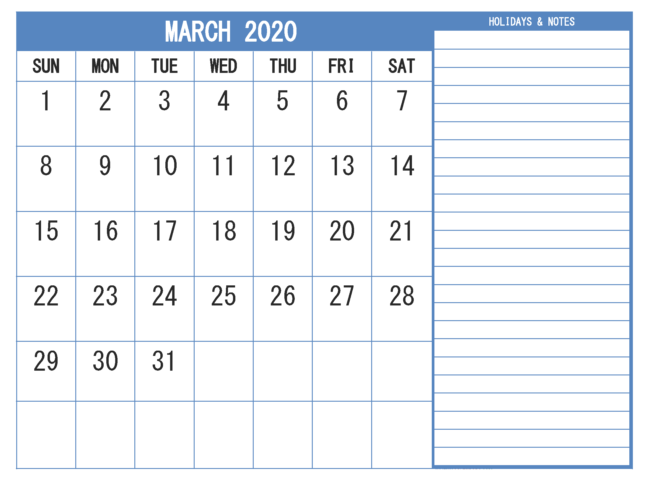 Free Printable Monthly 2020 Calendar with Holidays March