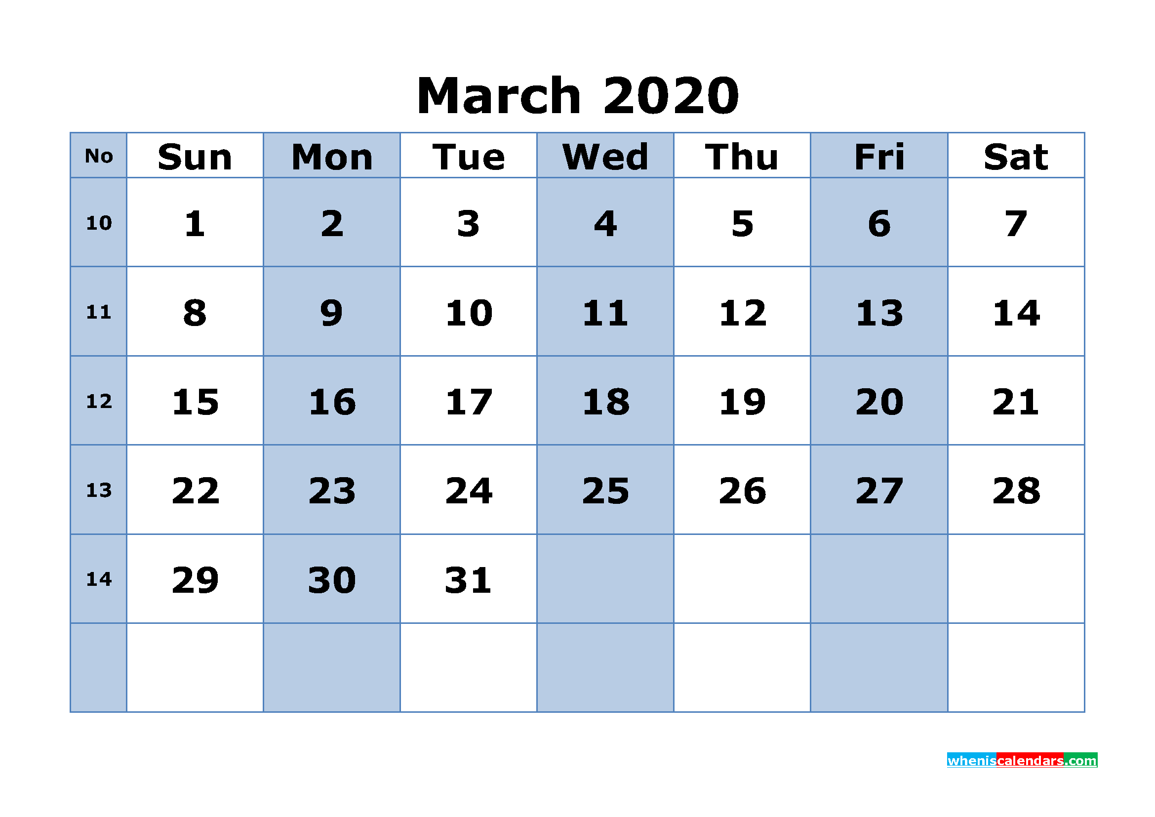 Free Printable March 2020 Calendar Word, PDF