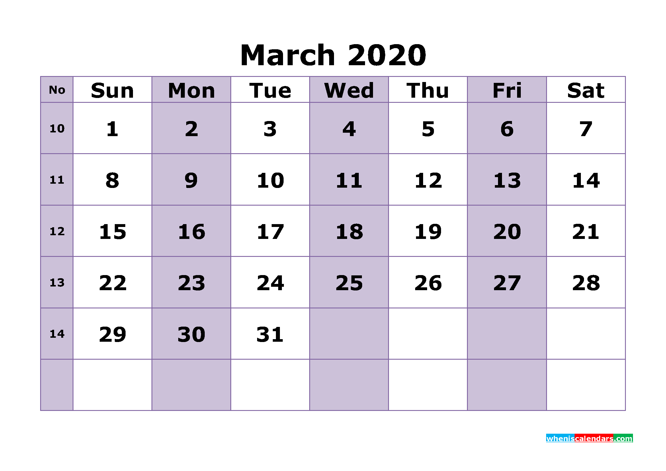 Printable March 2020 Calendar Template Word, PDF