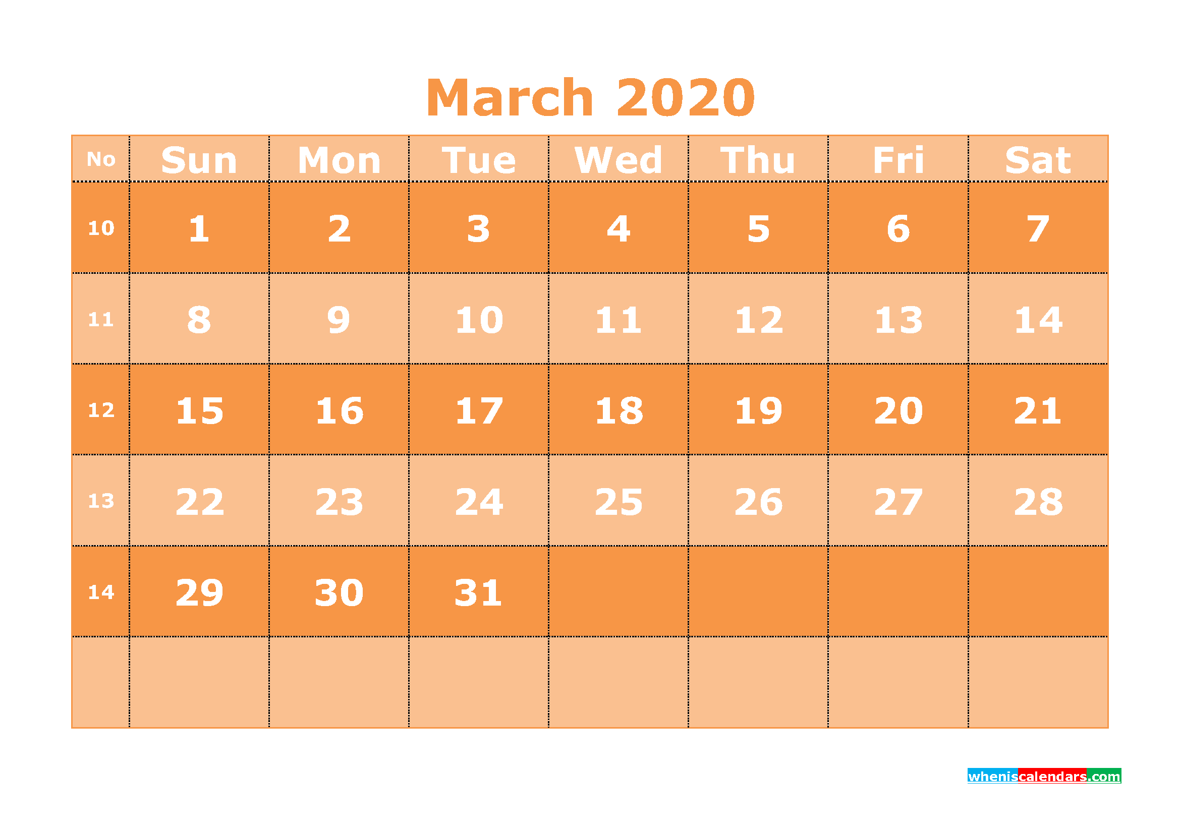 Free Printable March 2020 Calendar Template Word