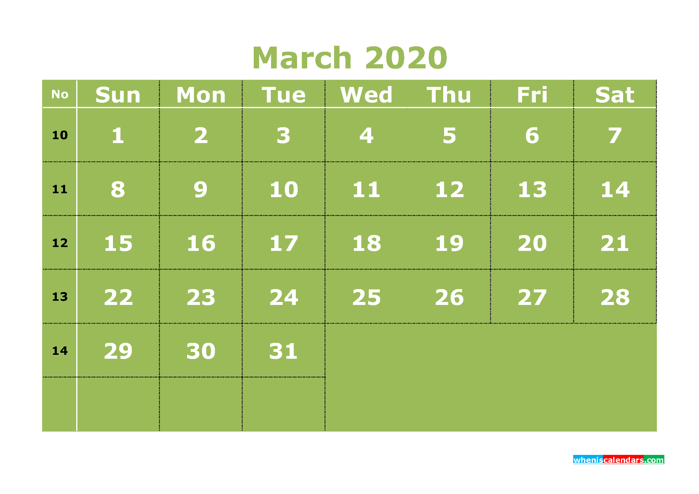 Free Printable March 2020 Calendar Templates