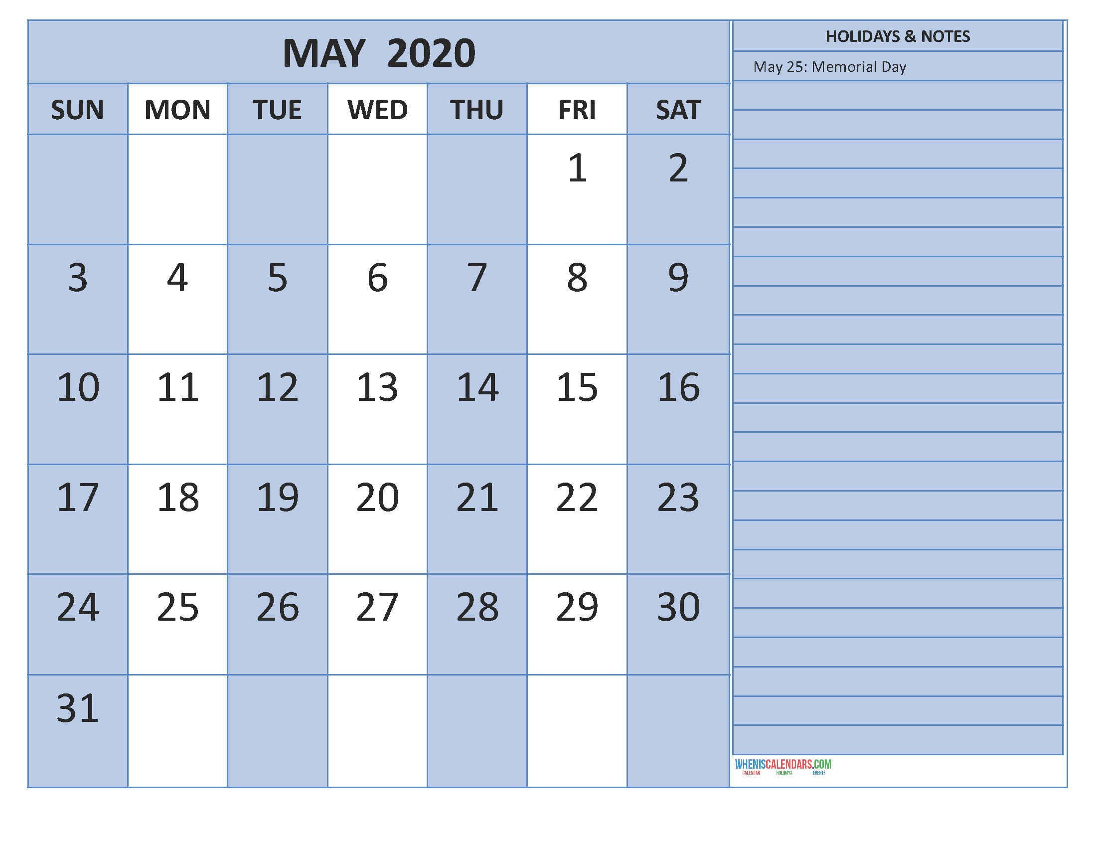 May 2020 Calendar with Holidays Word, PDF