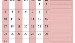 Printable May 2020 Calendar with Holidays Word