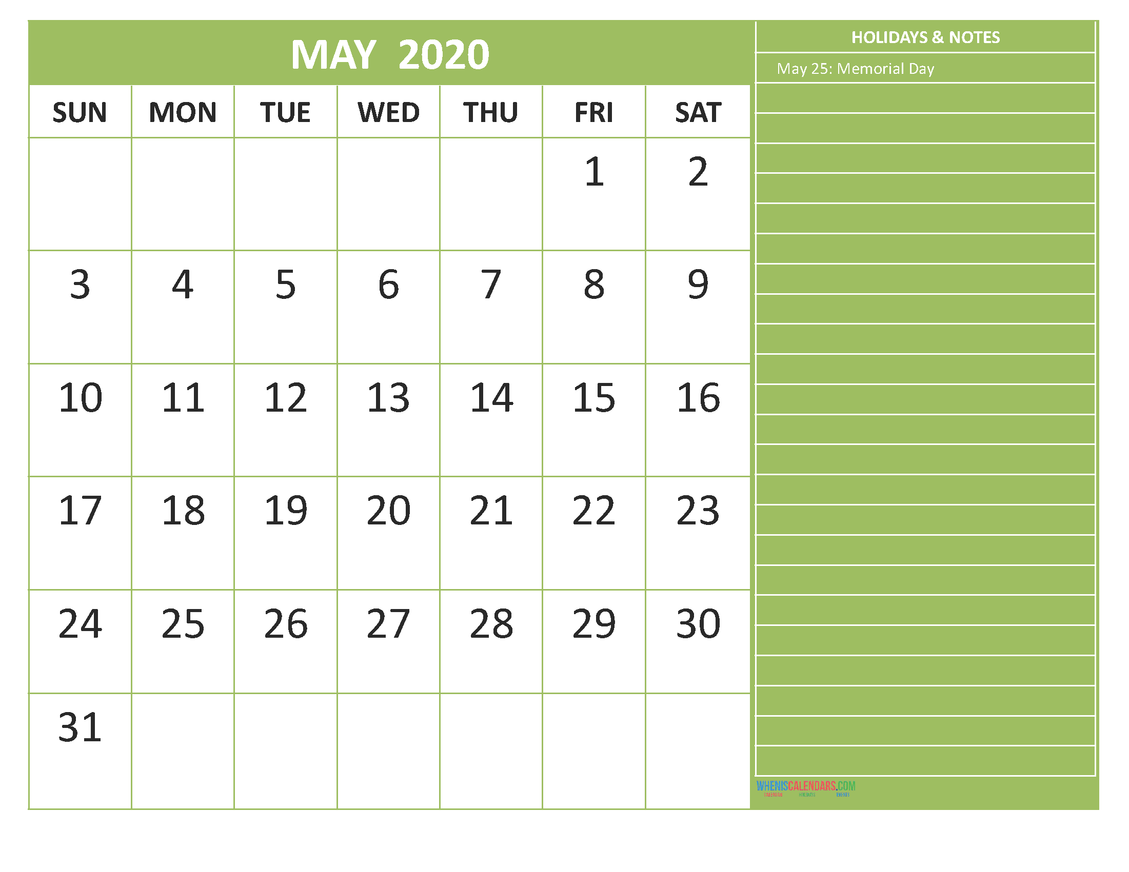 May 2020 Calendar with Holidays Free Printable