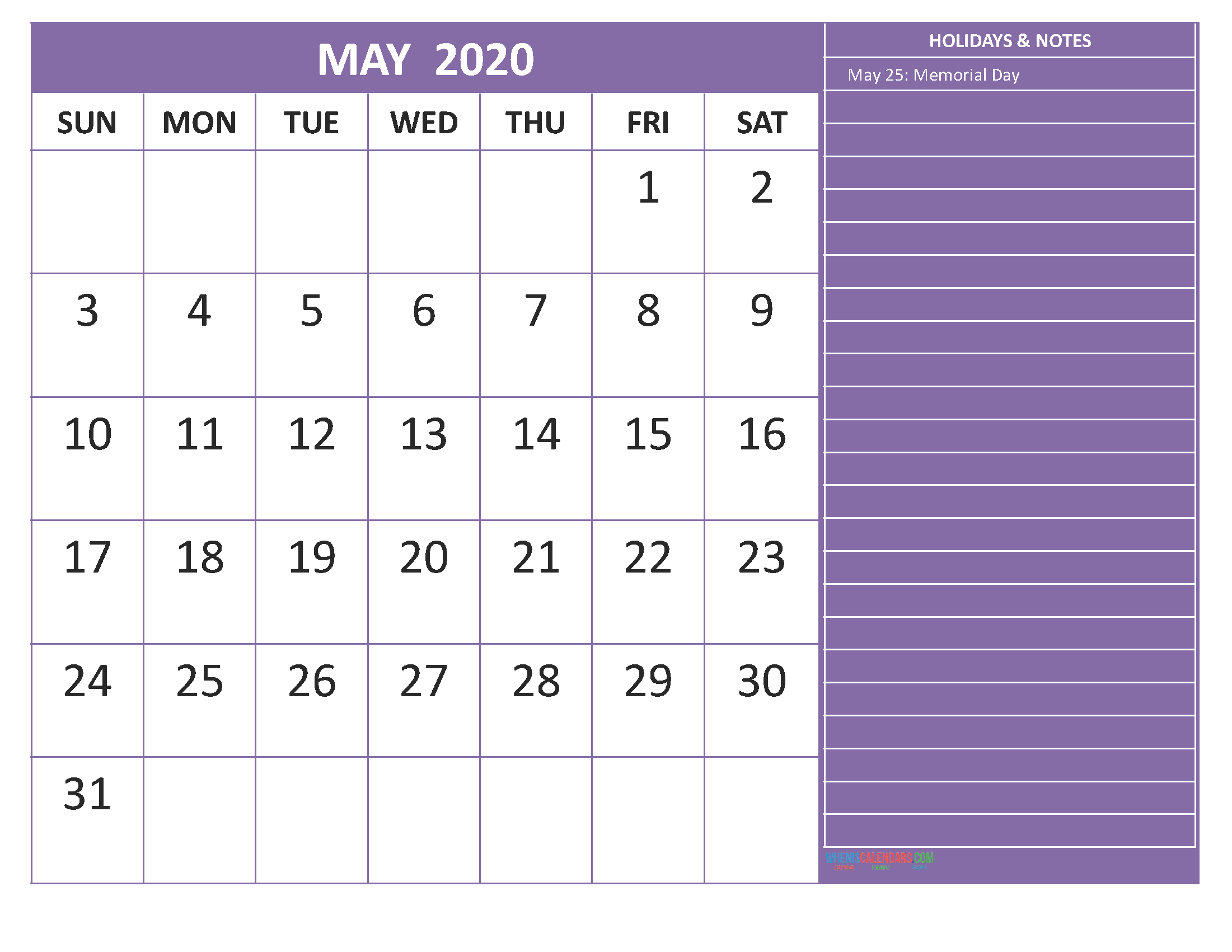 Free Printable Monthly 2020 Calendar with Holidays May
