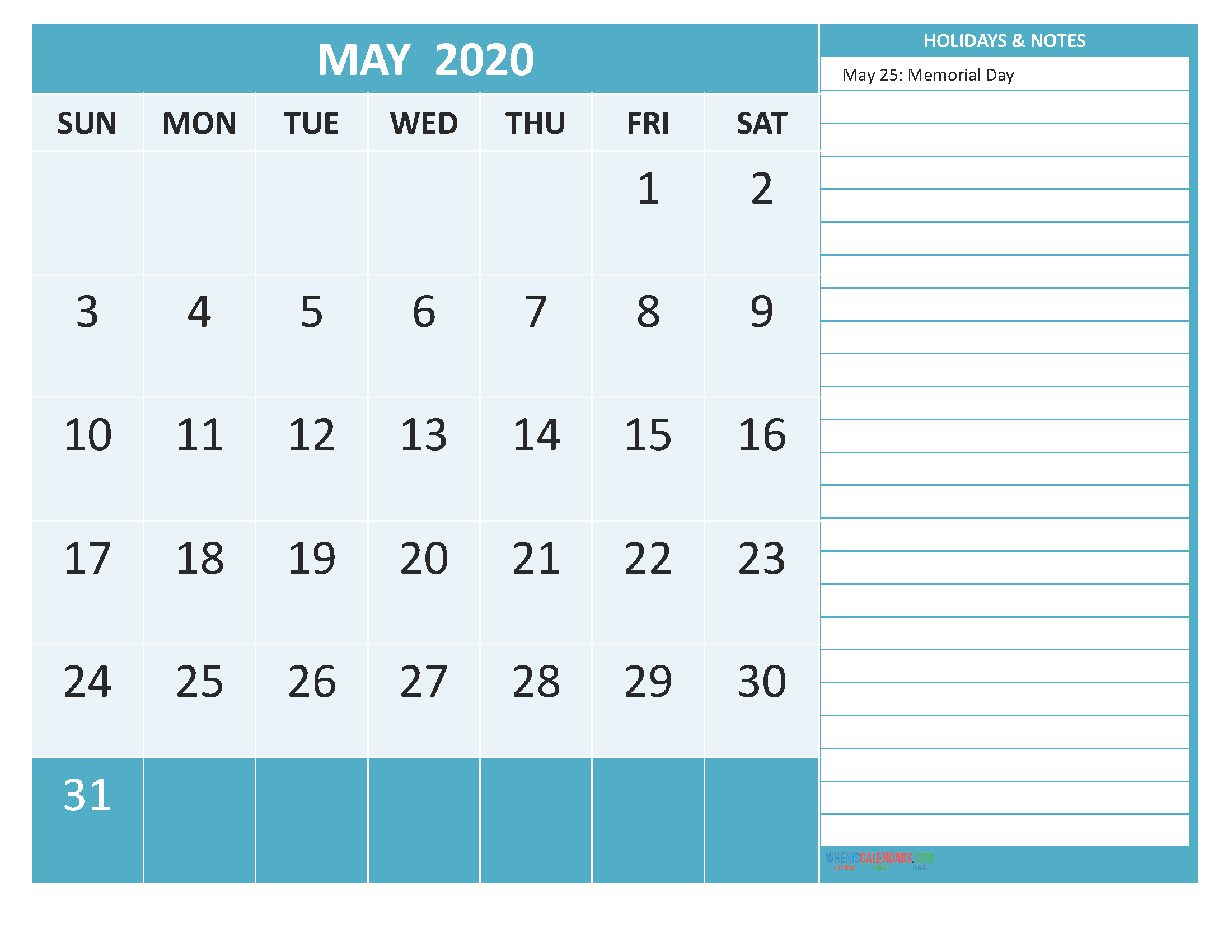 Printable May 2020 Calendar with Holidays Word