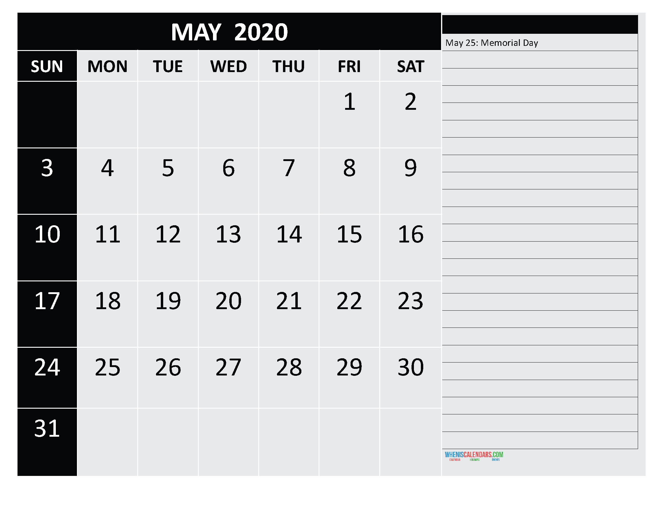 Free Monthly Printable Calendar 2020 May with Holidays