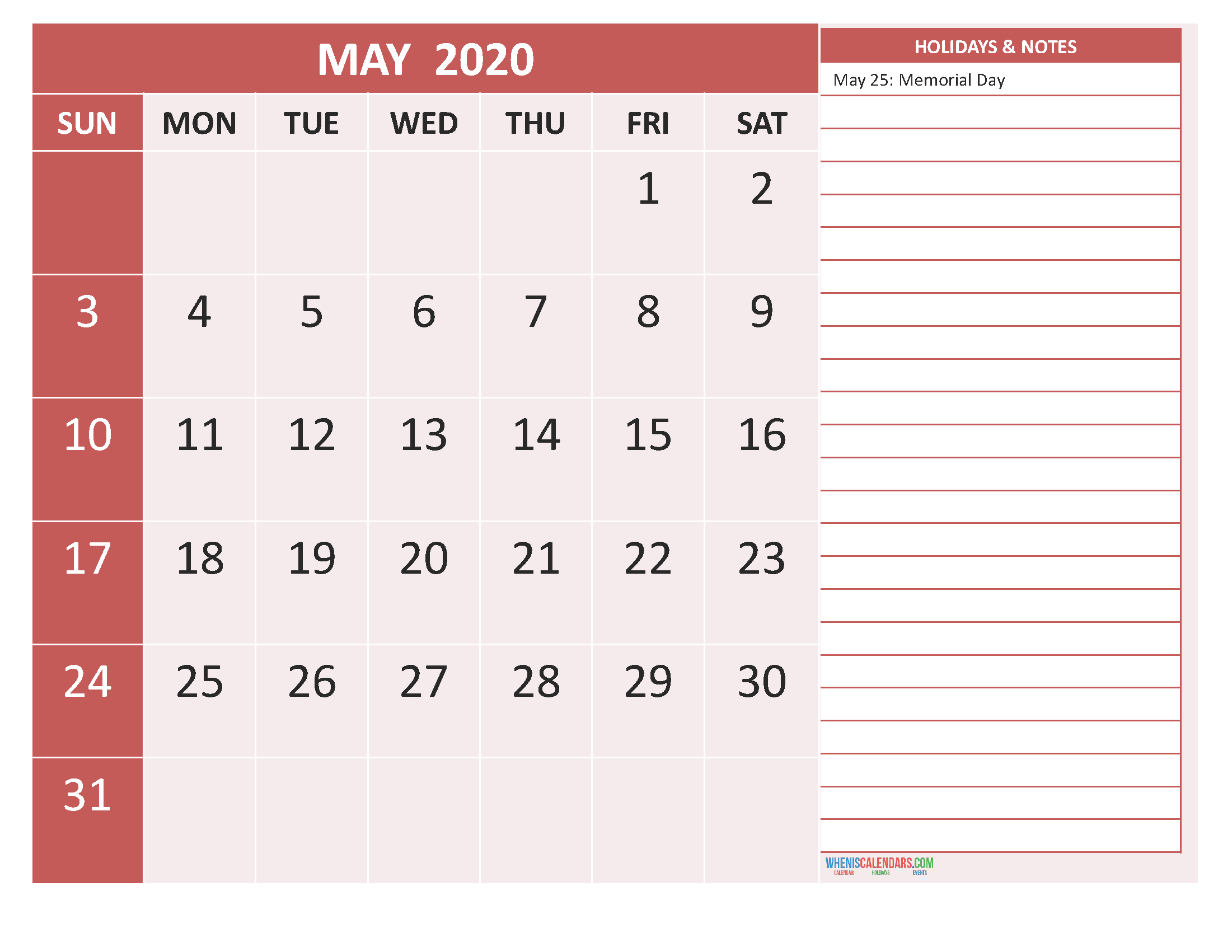 Free Printable 2020 Monthly Calendar with Holidays May