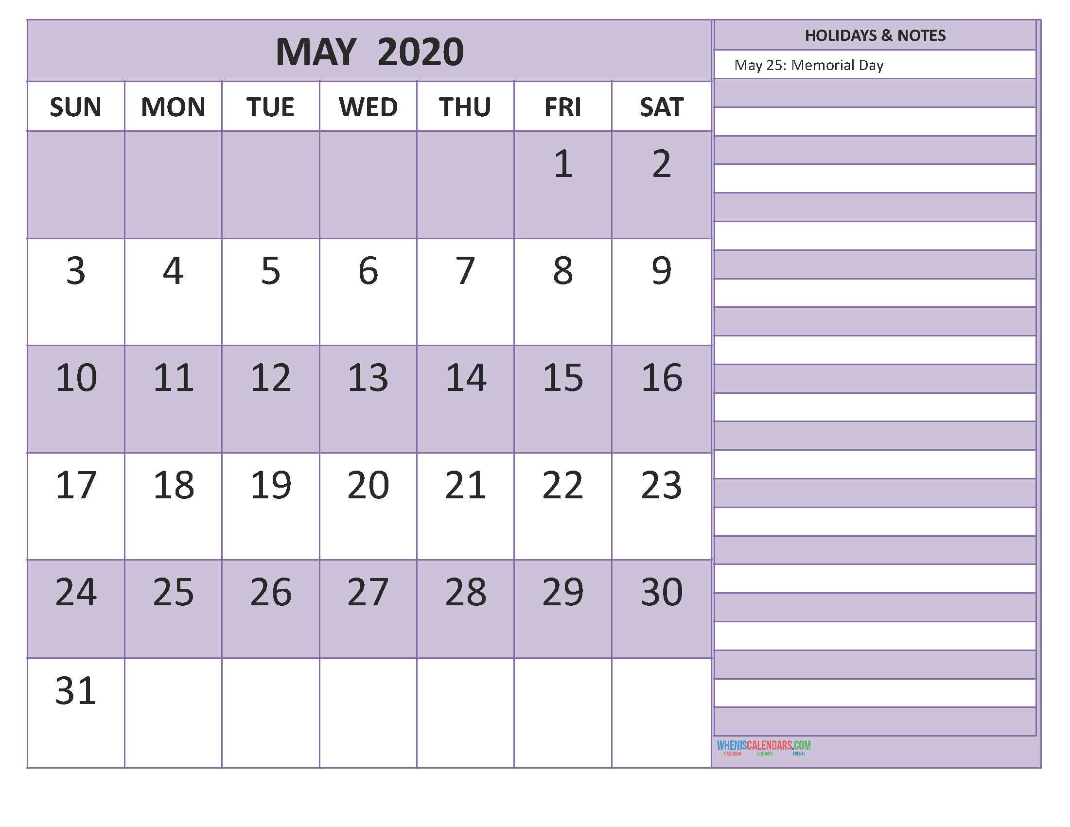 Free May 2020 Monthly Calendar Template Word